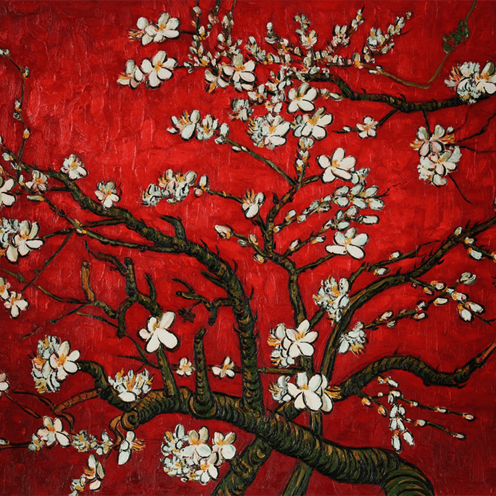 1000x1000 Red Almond Blossom Tree by Vincent Van Gogh - ArtWorker