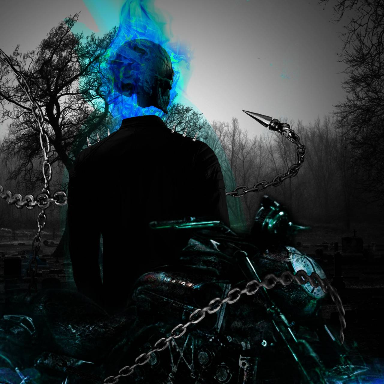 1280x1280 Blue Ghost Rider wallpaper by AithusaComics - 40 - Free on ZEDGE™