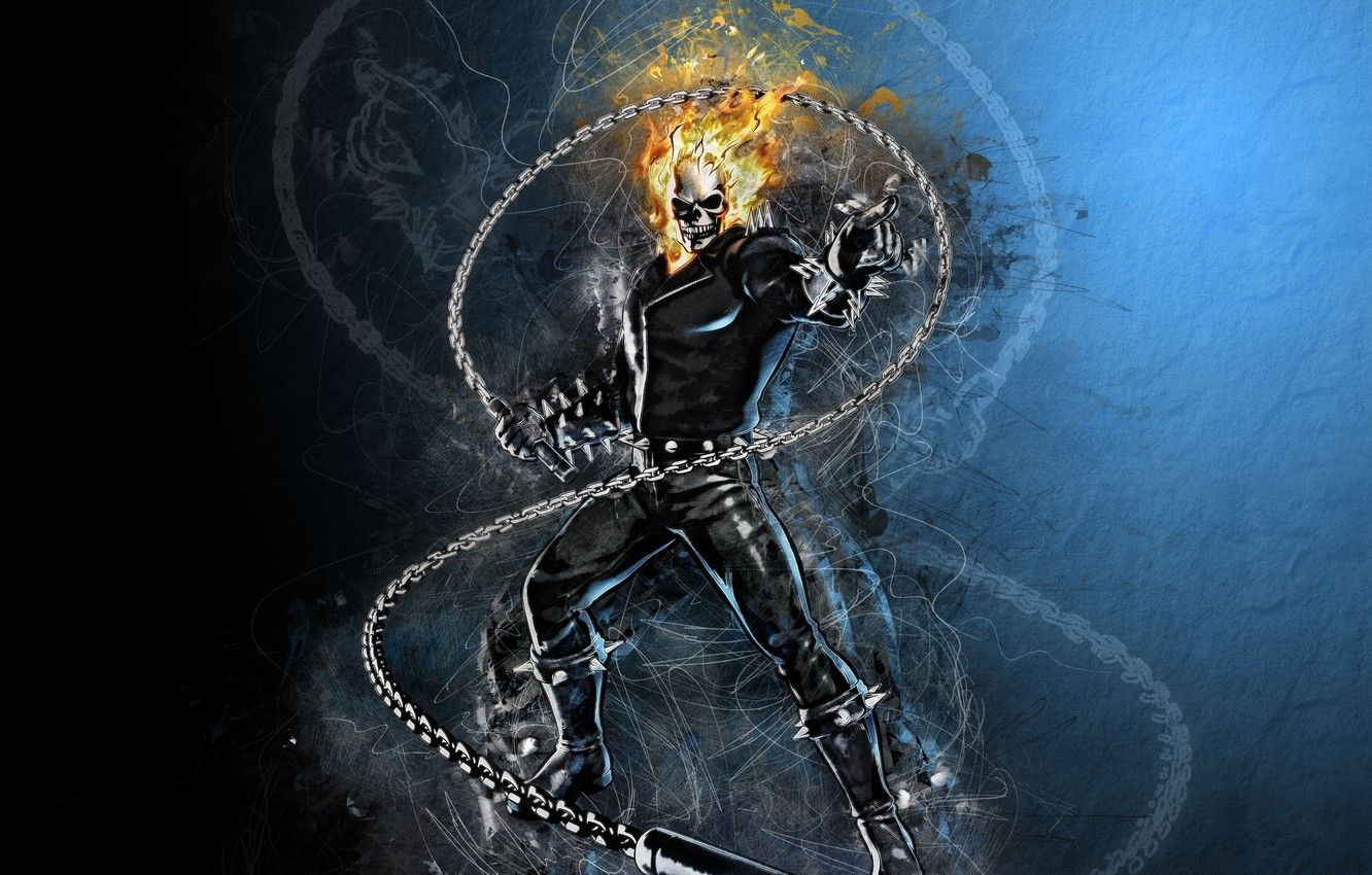 1332x850 Wallpaper fire, sake, Ghost Rider, fantasy, Marvel, comics ...