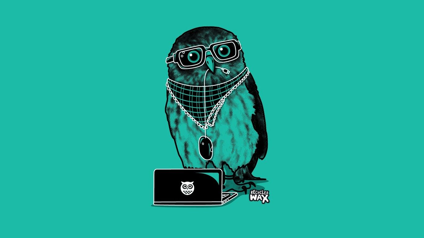 1366x768 minimalistic, hipster, owls, simple :: Wallpapers