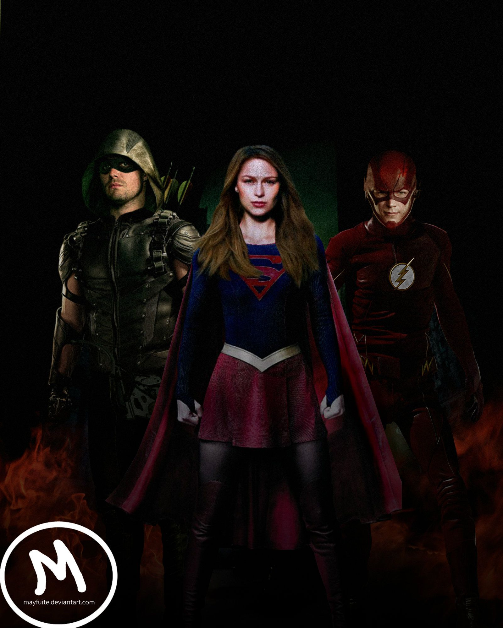 1600x2000 Arrow, Flash and Supergirl Crossover by mayfuite on DeviantArt