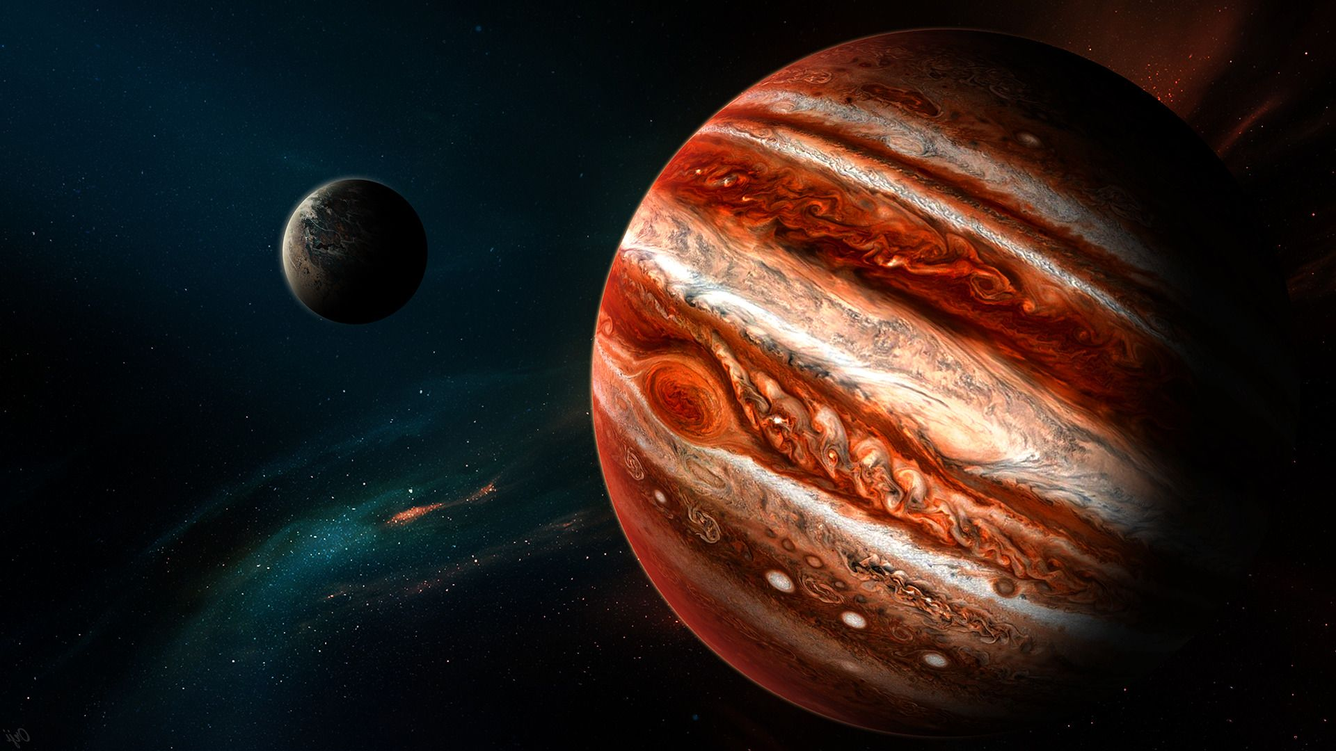 1920x1080 fantasy art space planet jupiter space art wallpaper and background