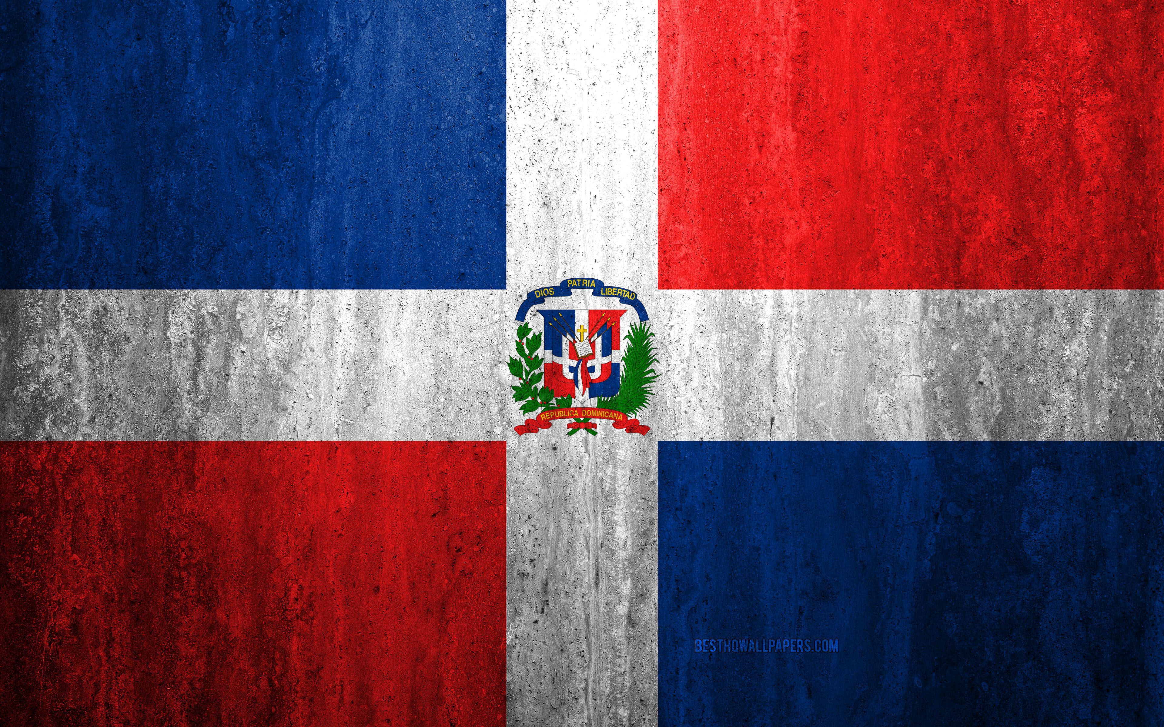 3840x2400 Download wallpapers Flag of Dominican Republic, 4k, stone ...