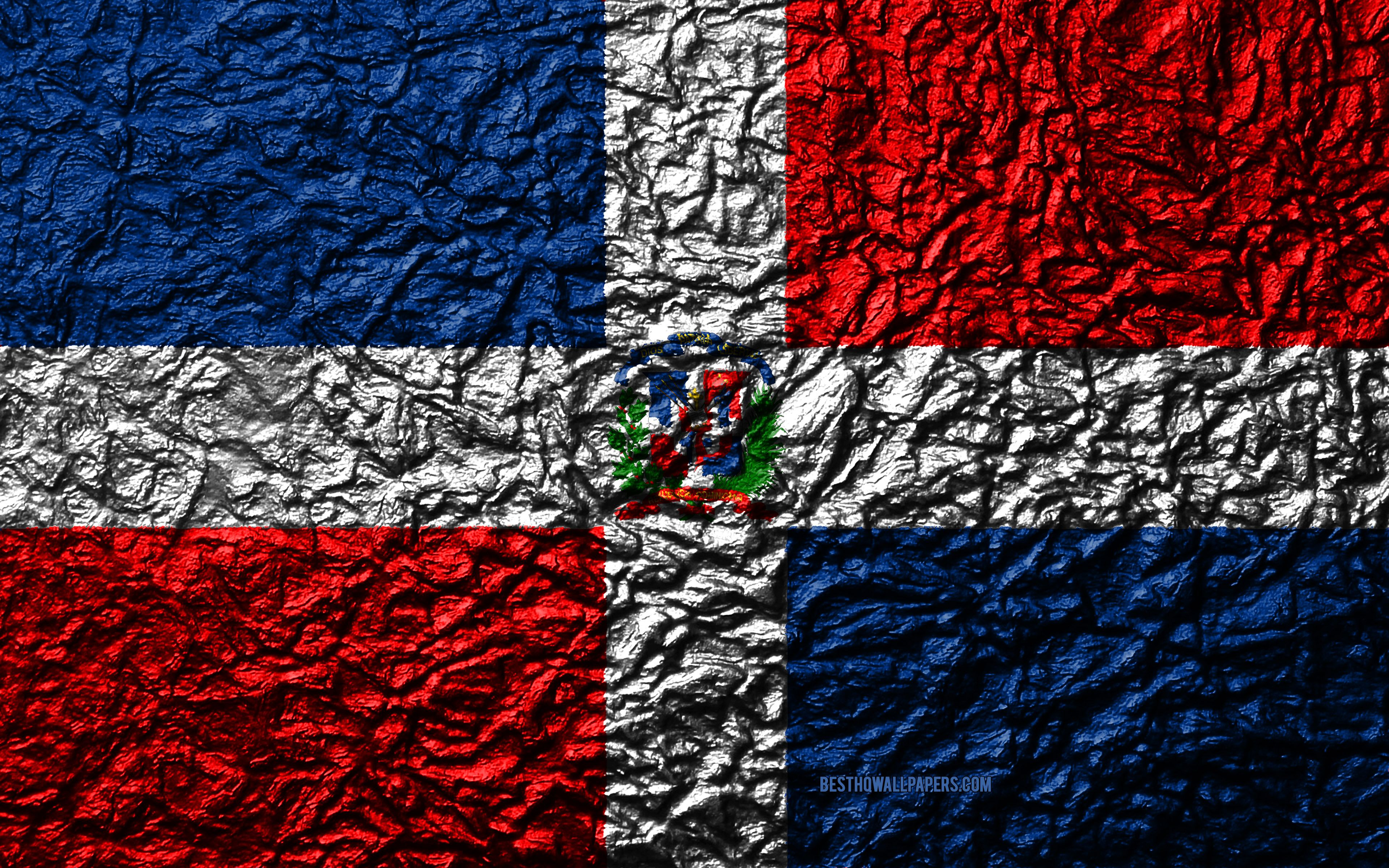 3840x2400 Download wallpapers Flag of Dominican Republic, 4k, stone texture ...