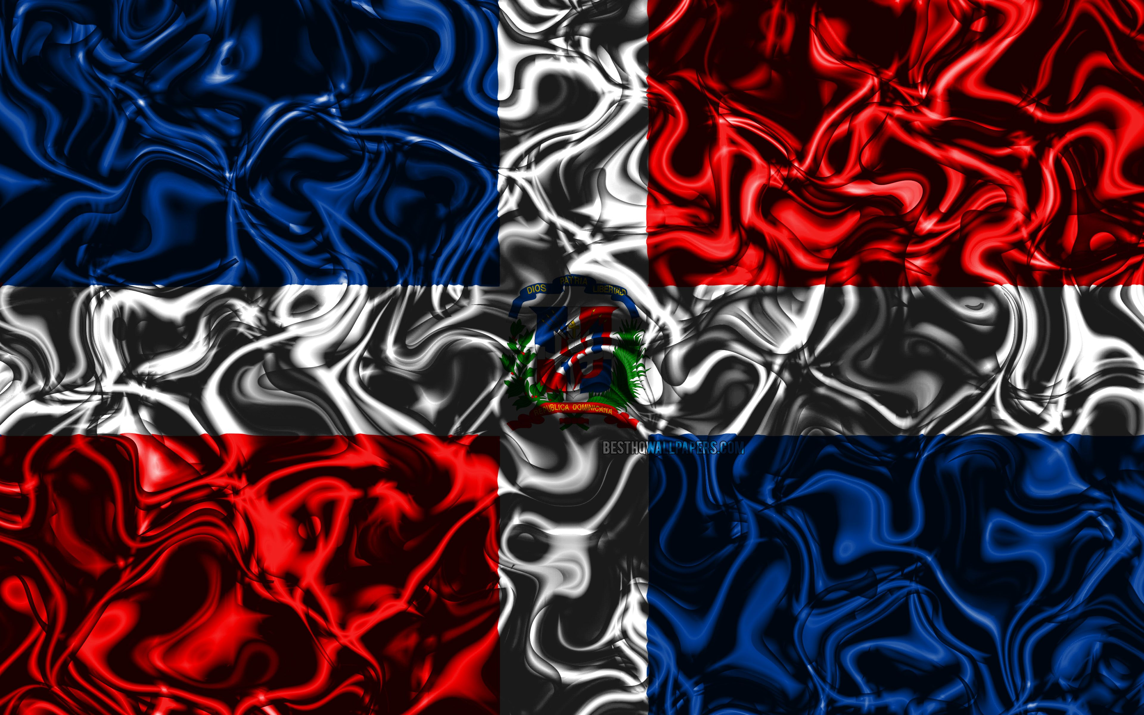 3840x2400 Download wallpapers 4k, Flag of Dominican Republic, abstract smoke ...
