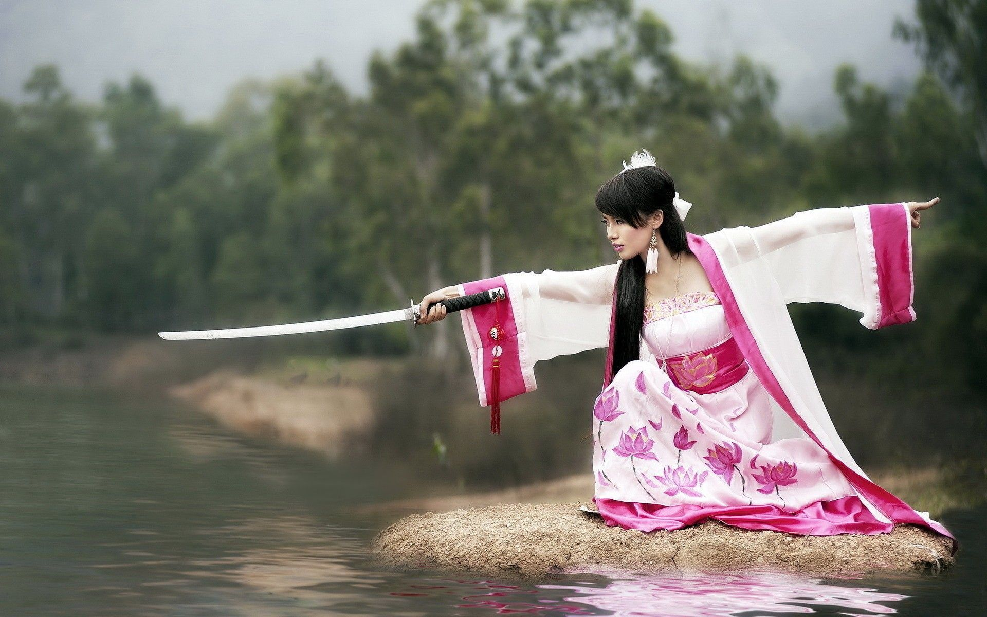 1920x1200 women katana Asians lakes martial arts - Wallpaper (#2538242 ...