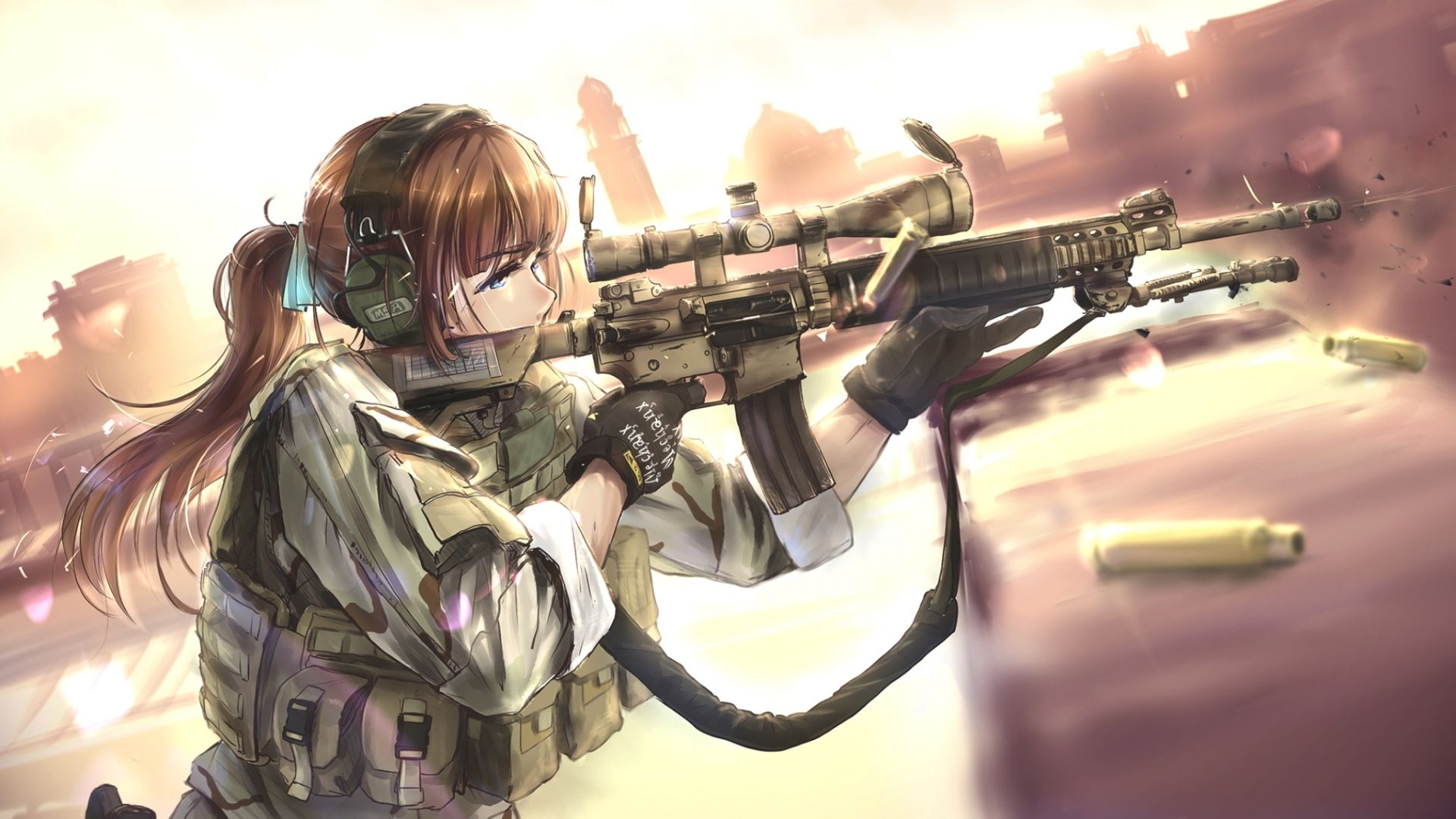 1920x1080 anime girls with guns wallpaper Group with 58 items