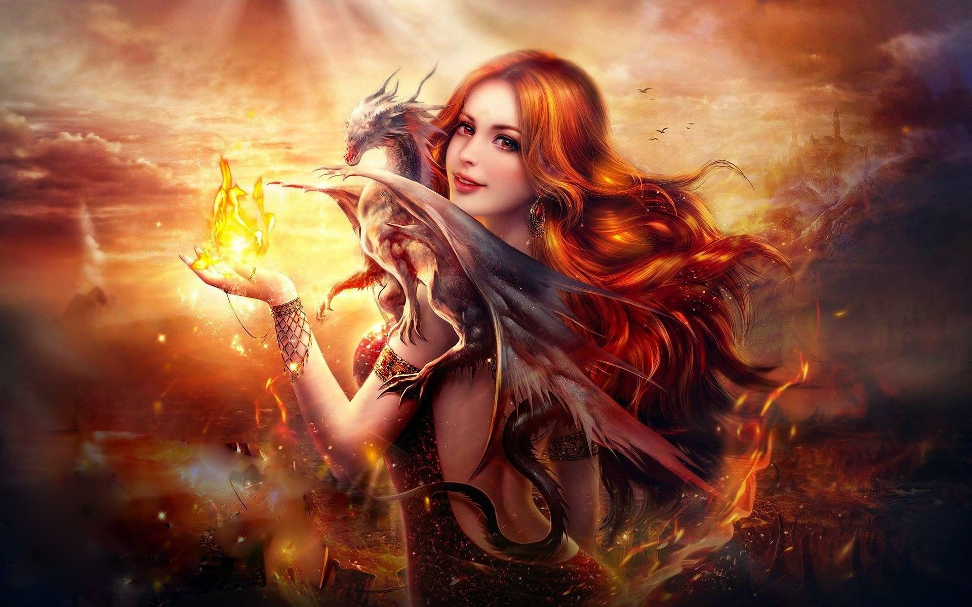 1920x1200 Dragon Fire Fantasy Girl Wallpapers   HD Wallpapers   ID #16615