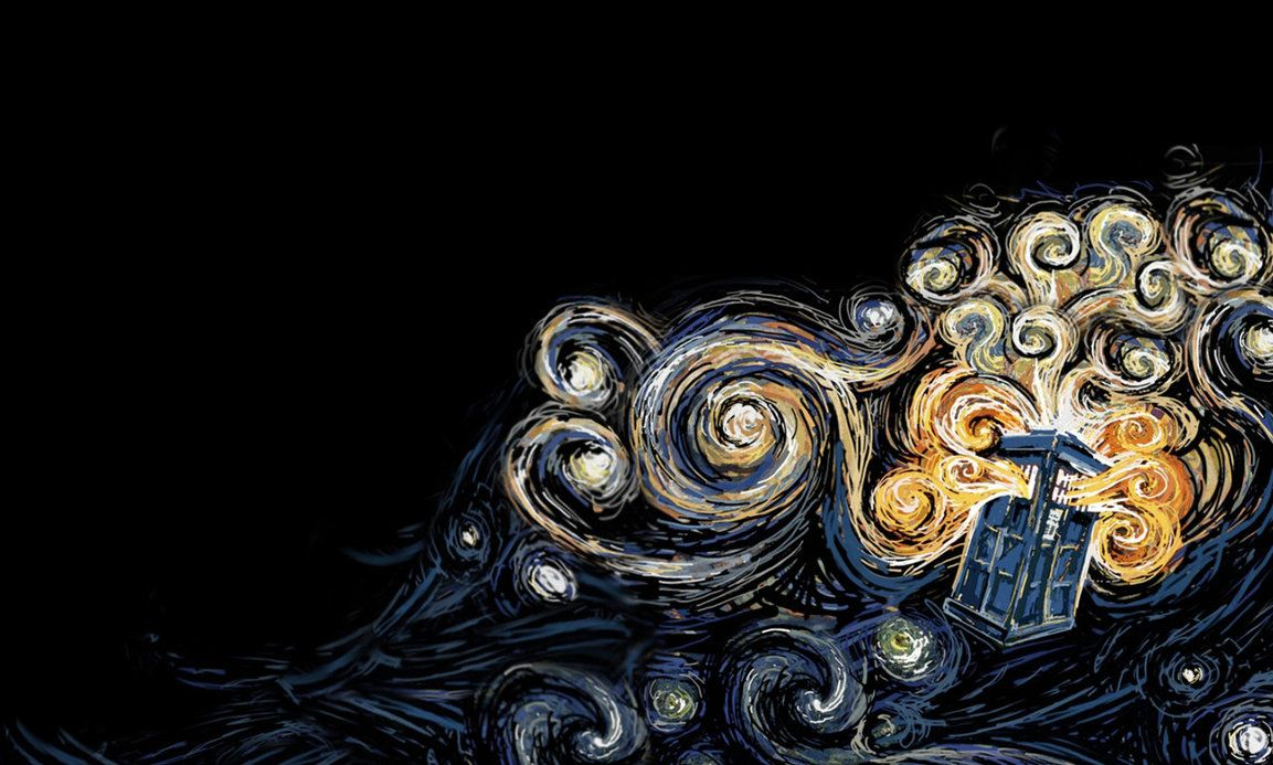 1153x693 TARDIS Wallpaper Van Gogh Style. by Koshka-Stuff on DeviantArt