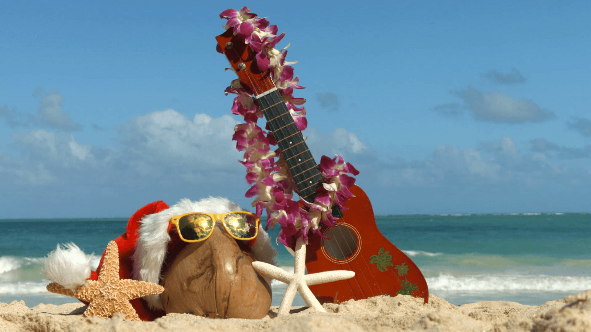 1920x1080 Santa Hat For Christmas Ukulele And Lei In Sand On Hawaii Stock ...