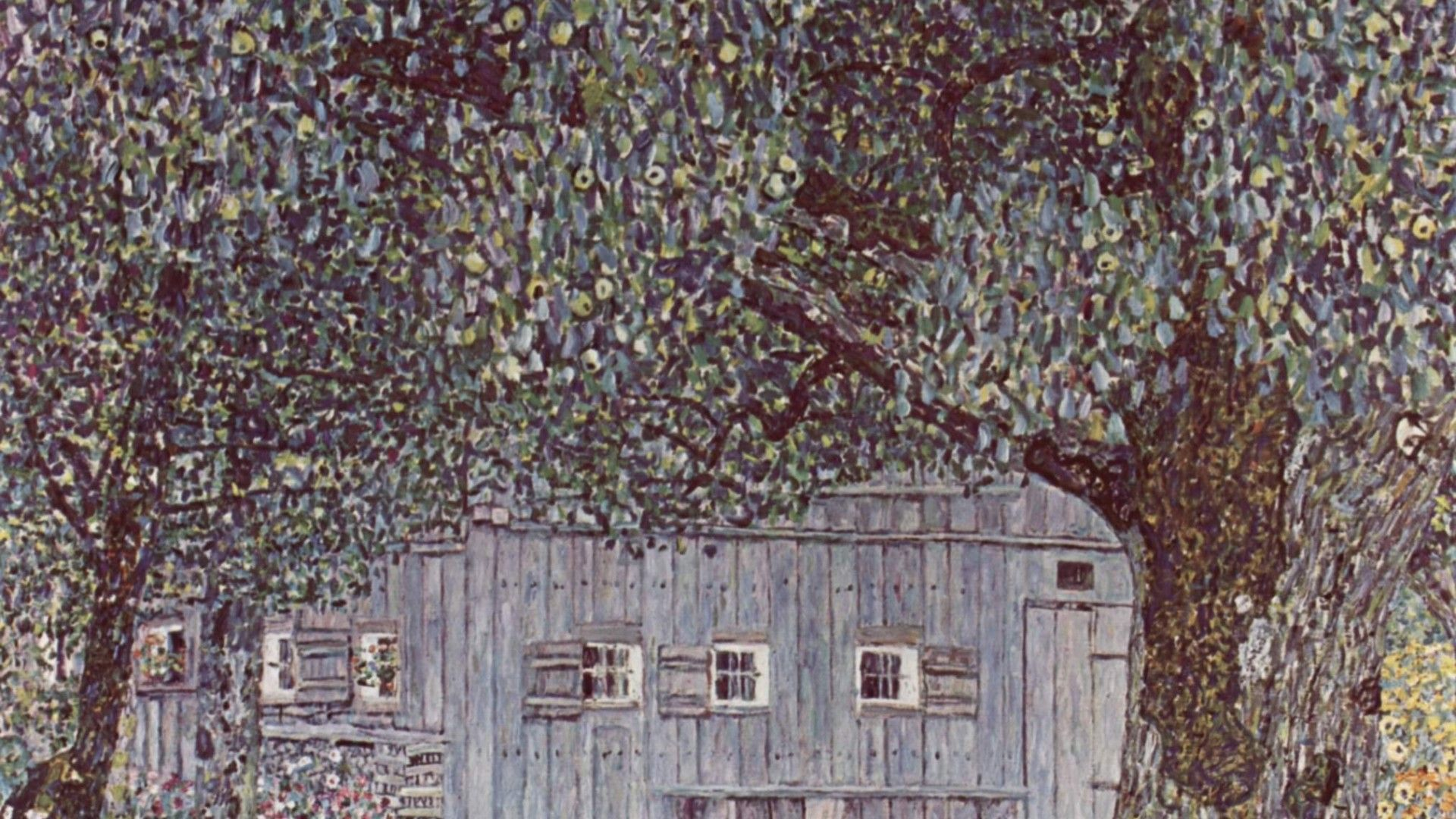 1920x1080 Painting of Gustav Klimt - Cabin in the woods wallpapers and images ...