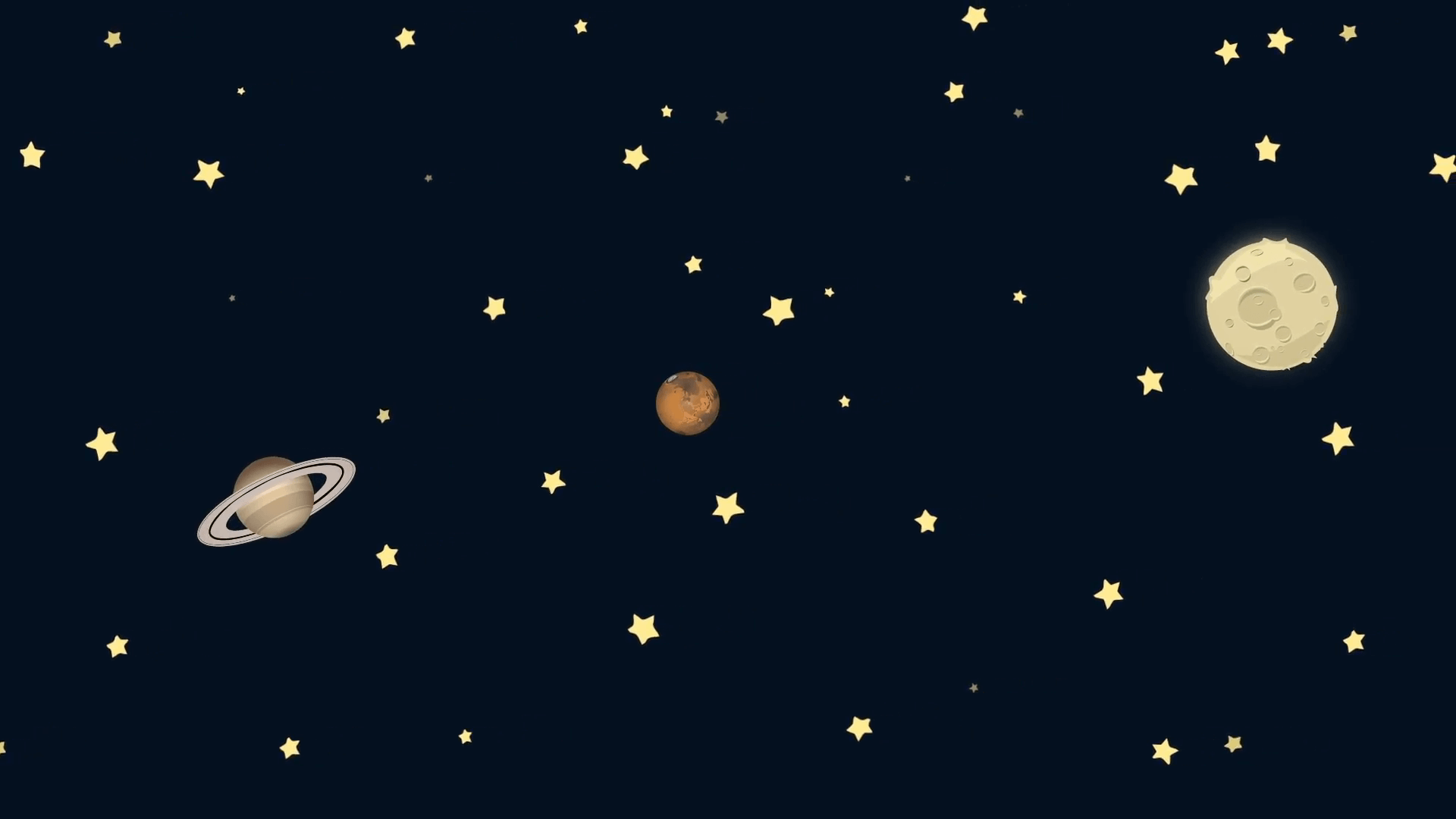 1920x1080 Cartoon Earth Saturn Mars and Moon in Space Motion Background ...