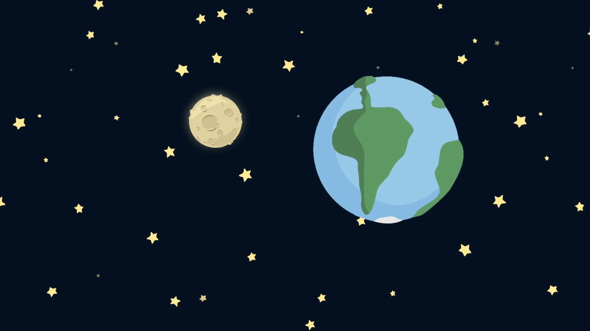1920x1080 Cartoon Earth and Moon from Space with Starry Night Motion ...
