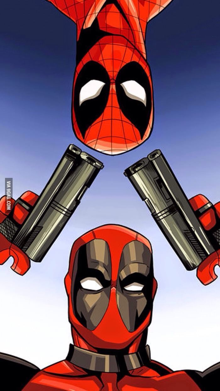 700x1244 deadpool and spiderman wallpaper