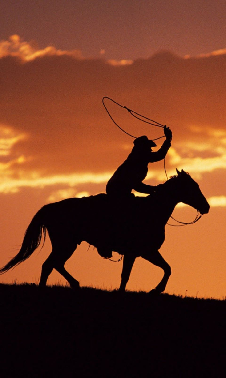 960x1600 Western Cowboy At Sunset Mobile Wallpaper - Mobiles Wall