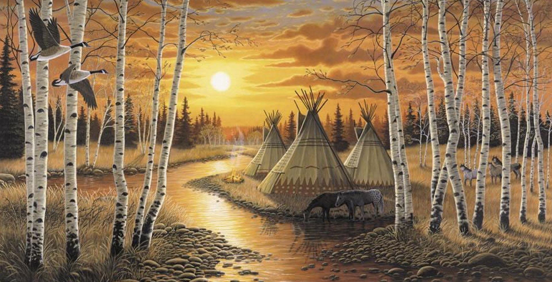 1920x980 Free Native American Wolf Wallpaper | Wholesale Wall Murals ...