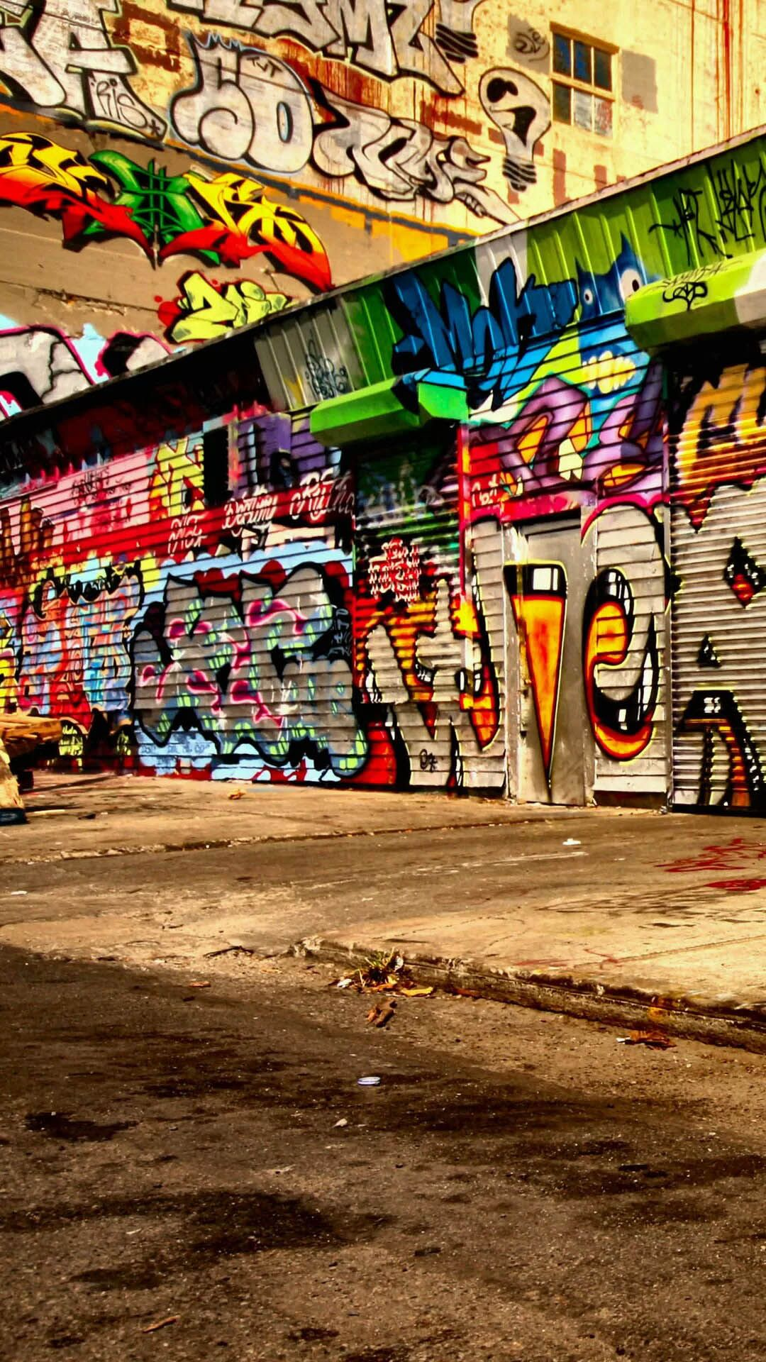 1080x1920 Colorful Graffiti City Alley Street Art Android Wallpaper free download
