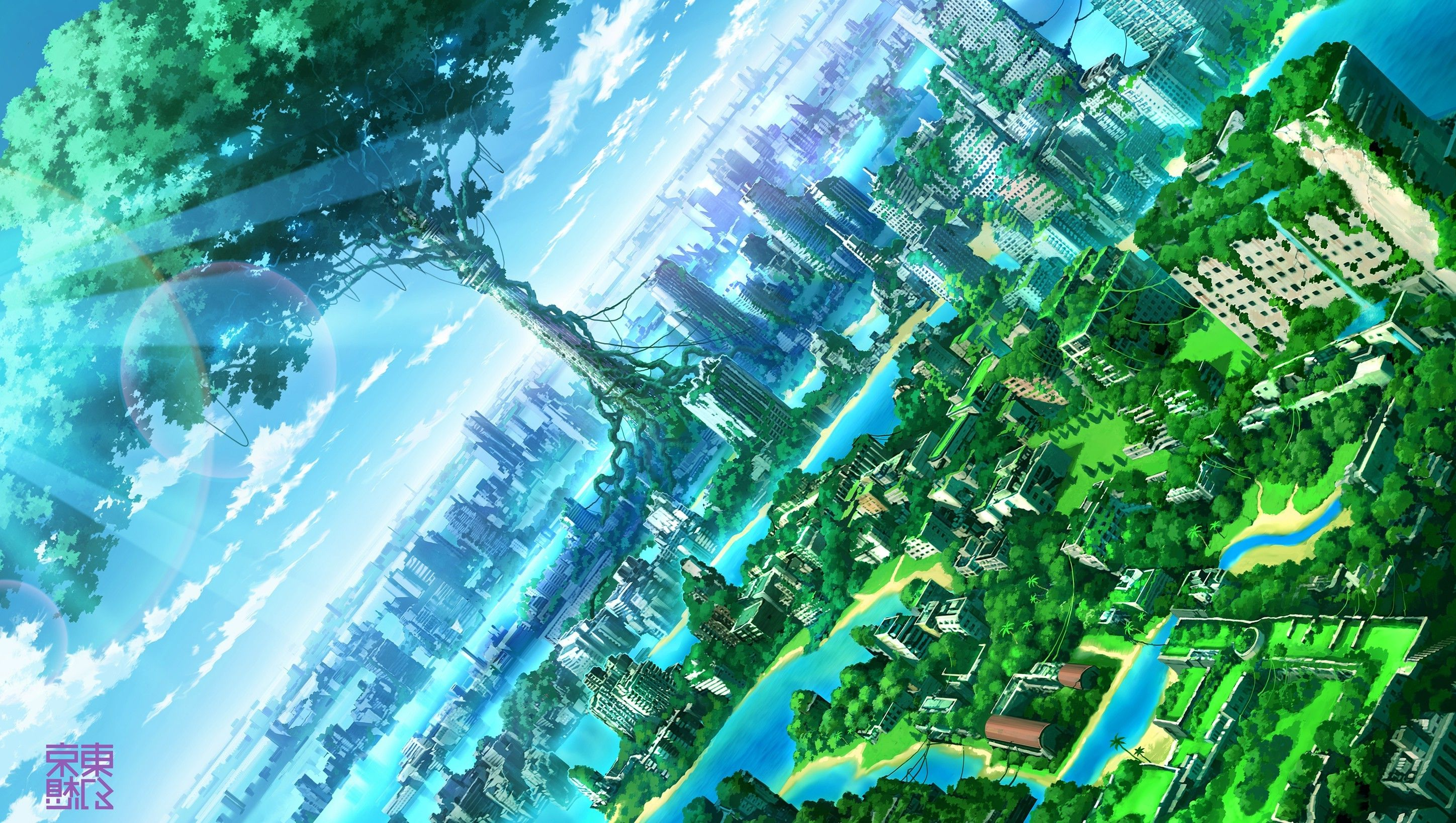 2896x1636 anime, Artwork, Fantasy Art, City, Nature Wallpapers HD / Desktop ...