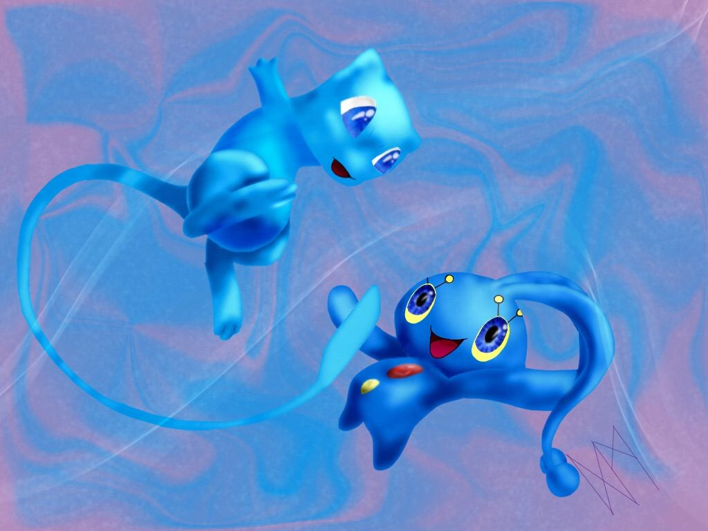 1024x768 Manaphy and Shiny Mew by DragonMPhantom on DeviantArt