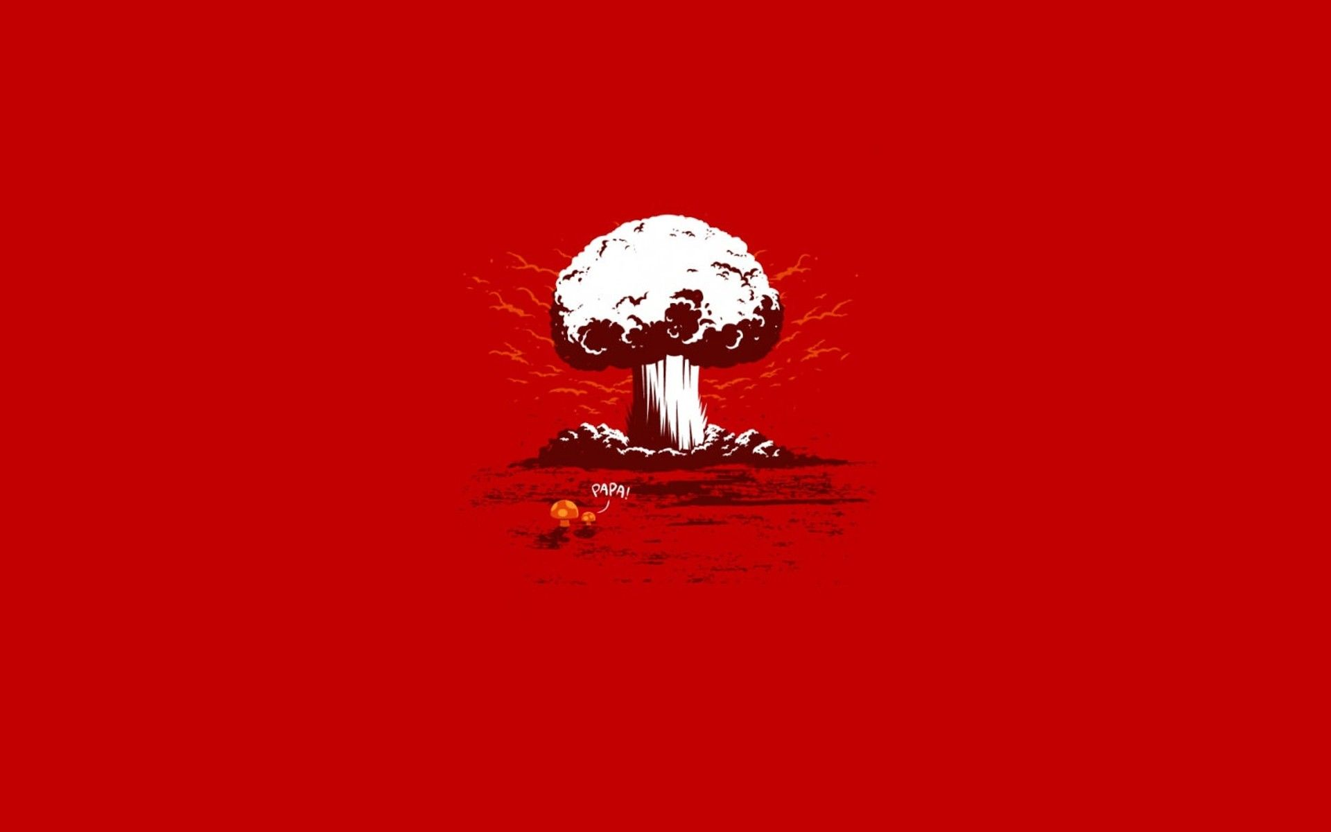 1920x1200 minimalistic, funny, typography, nuclear explosions, red background ...