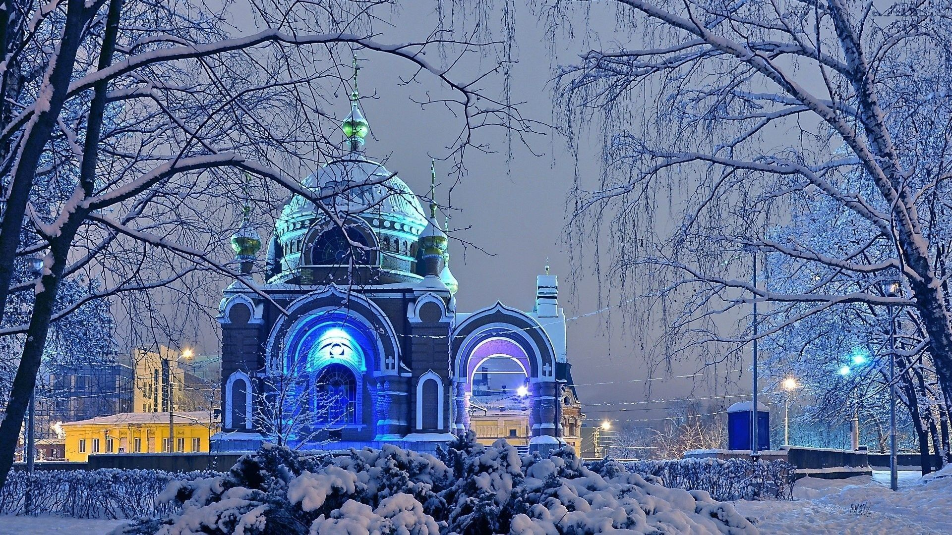 1920x1080 Religious: Russian Winter Frost Snow City Church Trees Wallpaper ...