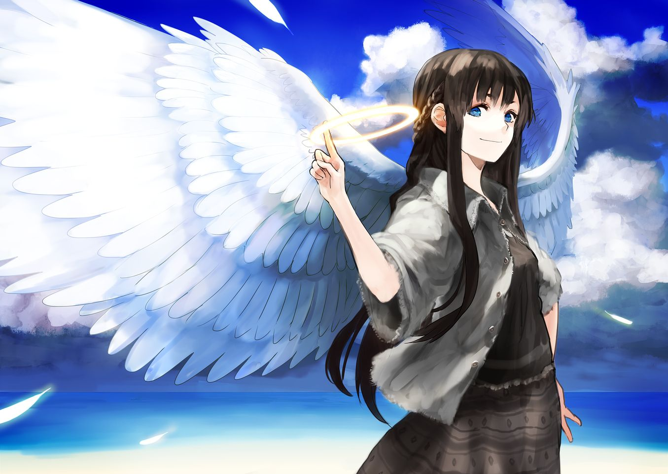 1355x962 angel black_hair blue_eyes chirigami-san clouds dress feathers halo ...