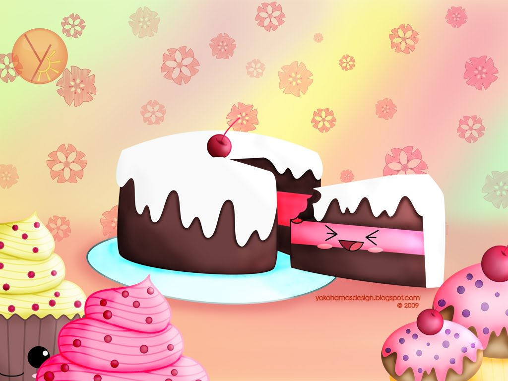 1024x768 Wallpaper background in kawaii style from kawaii designer charuca ...