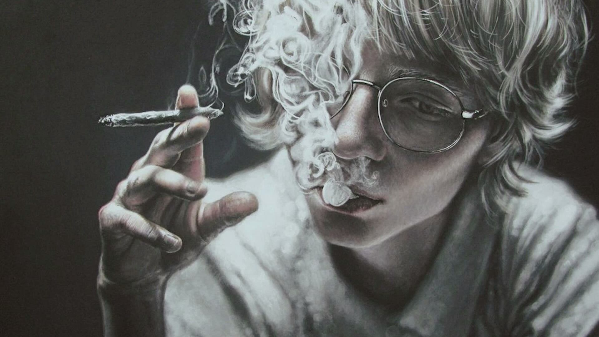 1920x1080 Smoking Face Portrait - Realistic Art Wallpaper | Wallpaper Studio ...
