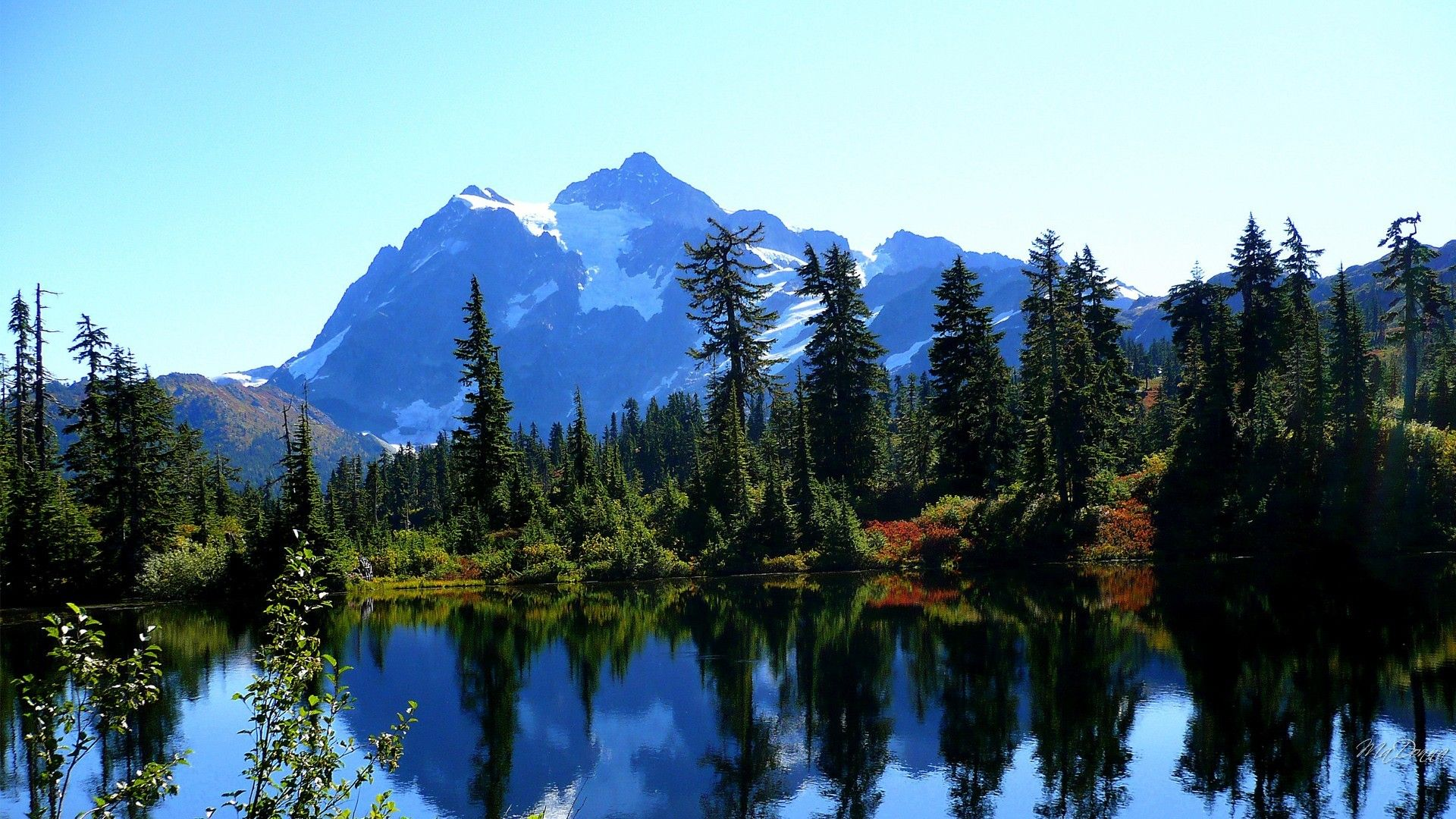 1920x1080 Lakes: Reflection Mirror Sky Forest Spruce Fall Foliage Trees ...