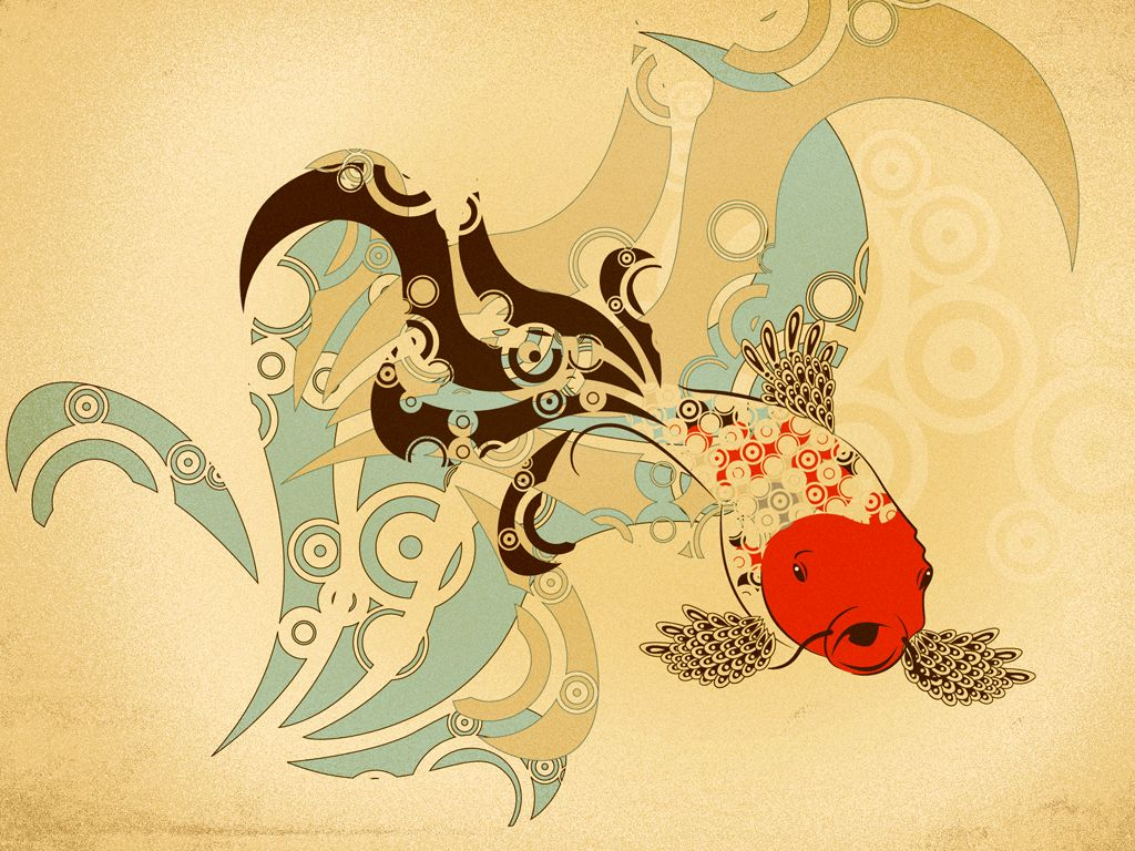 1024x768 wallpaper: Japanese Carp Wallpaper