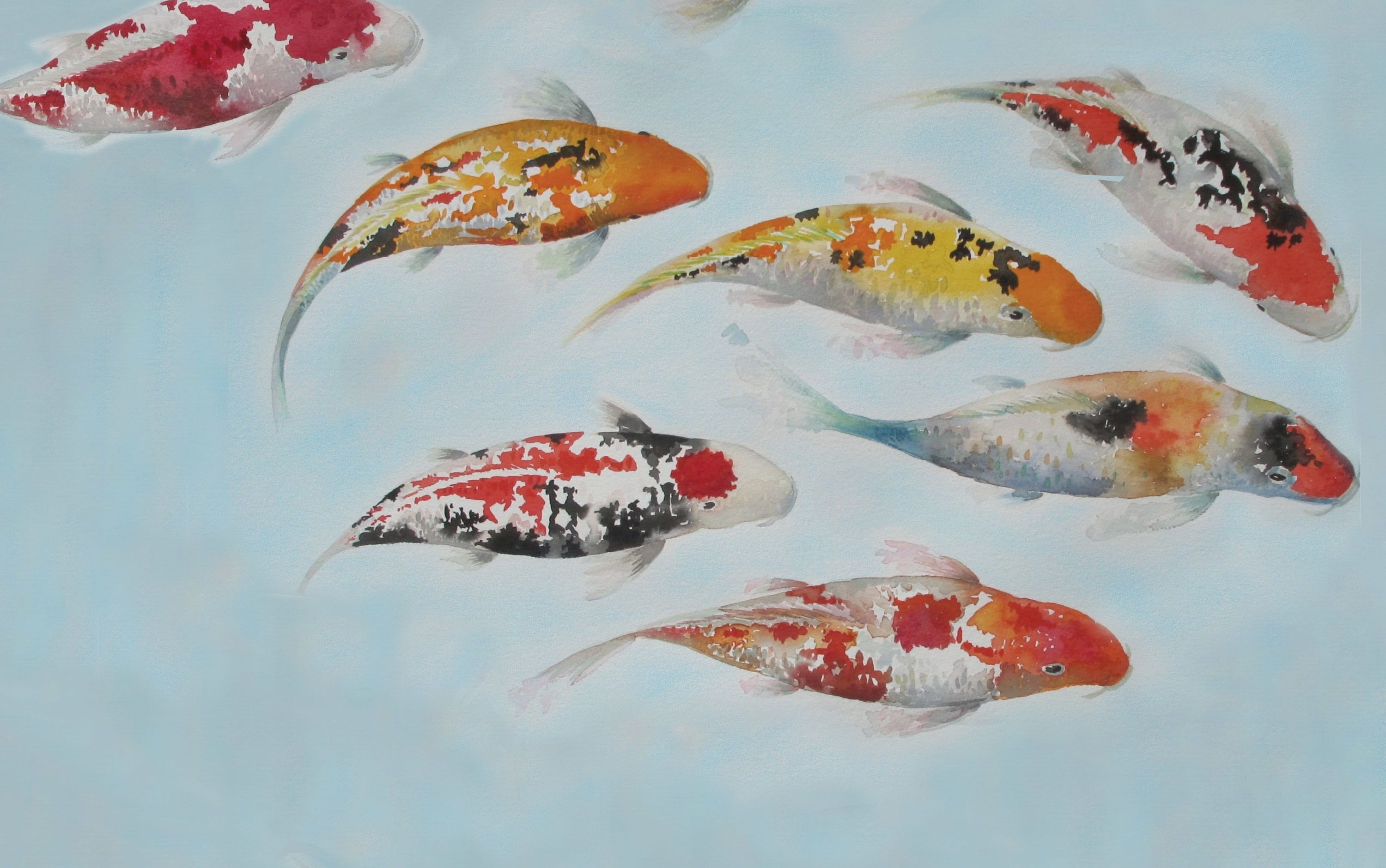3000x1880 Koi Wallpaper - Japanese Carps Wallpaper - Watercolor Japanese ...