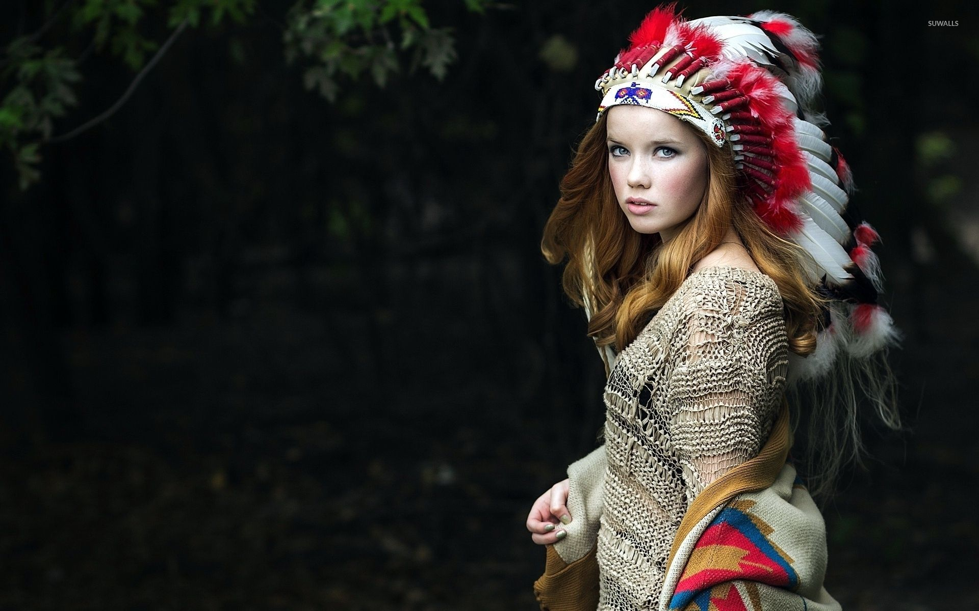 1920x1200 Beautiful girl in a native american costume wallpaper - Girl ...