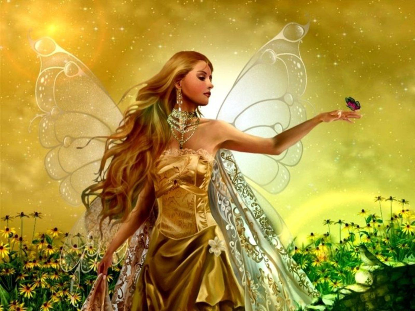 1400x1050 Fairy And Butterfly Angel Wallpaper 1400x1050 | Full HD ...