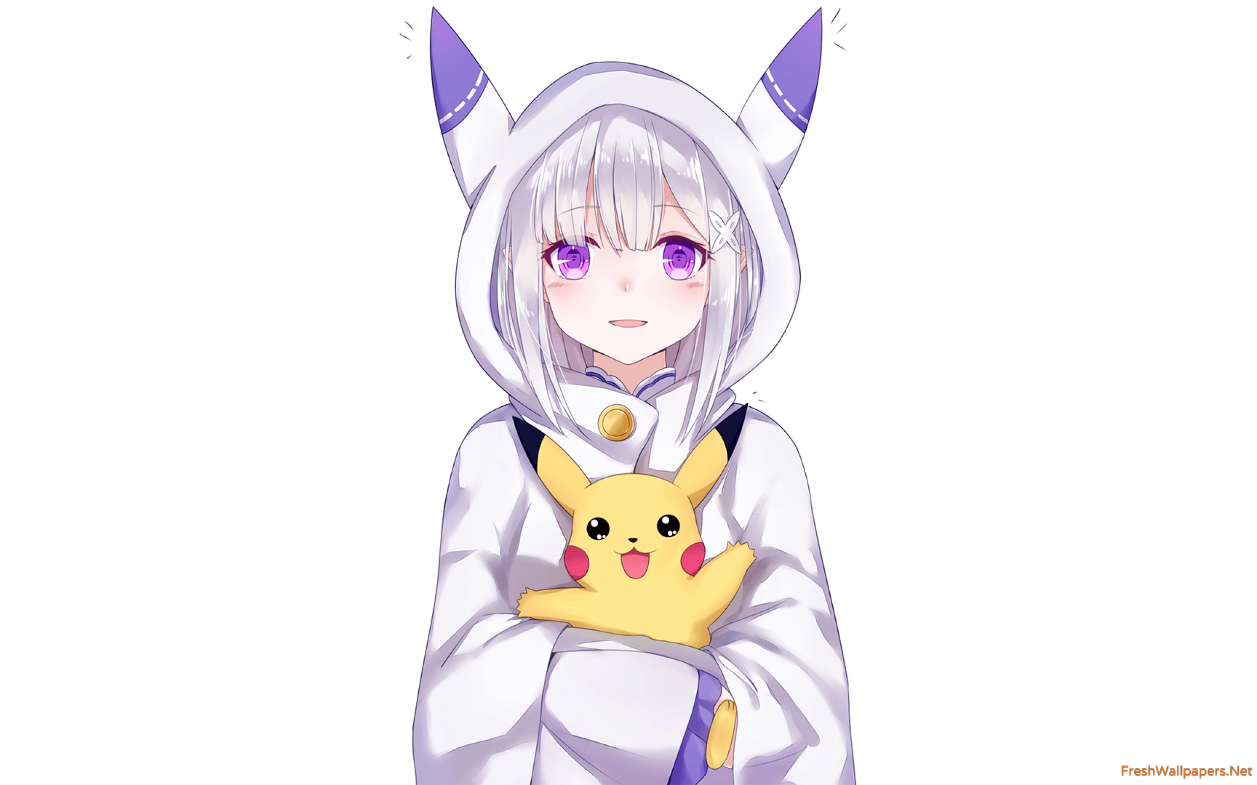 2560x1600 Emilia and Pikachu wallpapers   Freshwallpapers