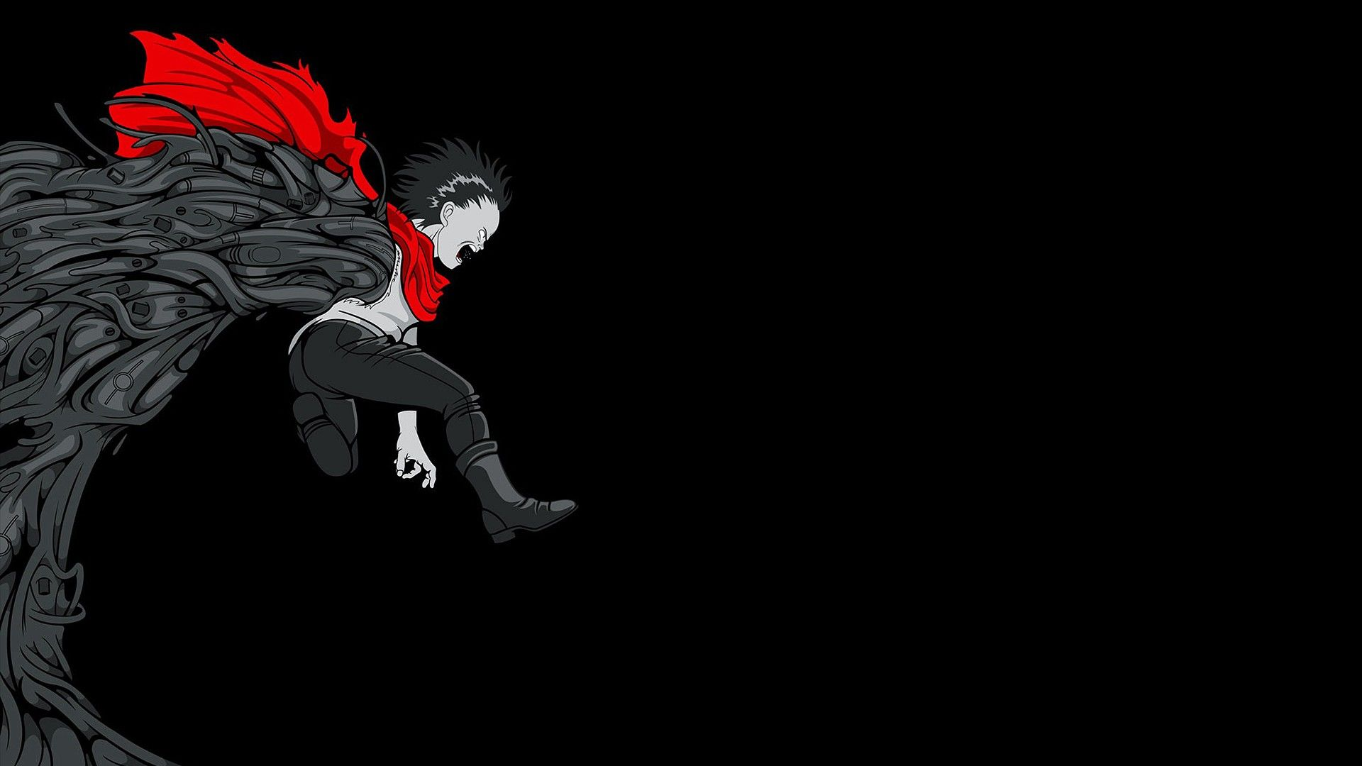 1920x1080 Akira, movies, Tetsuo, anime, fan art, black background, Kaneda ...