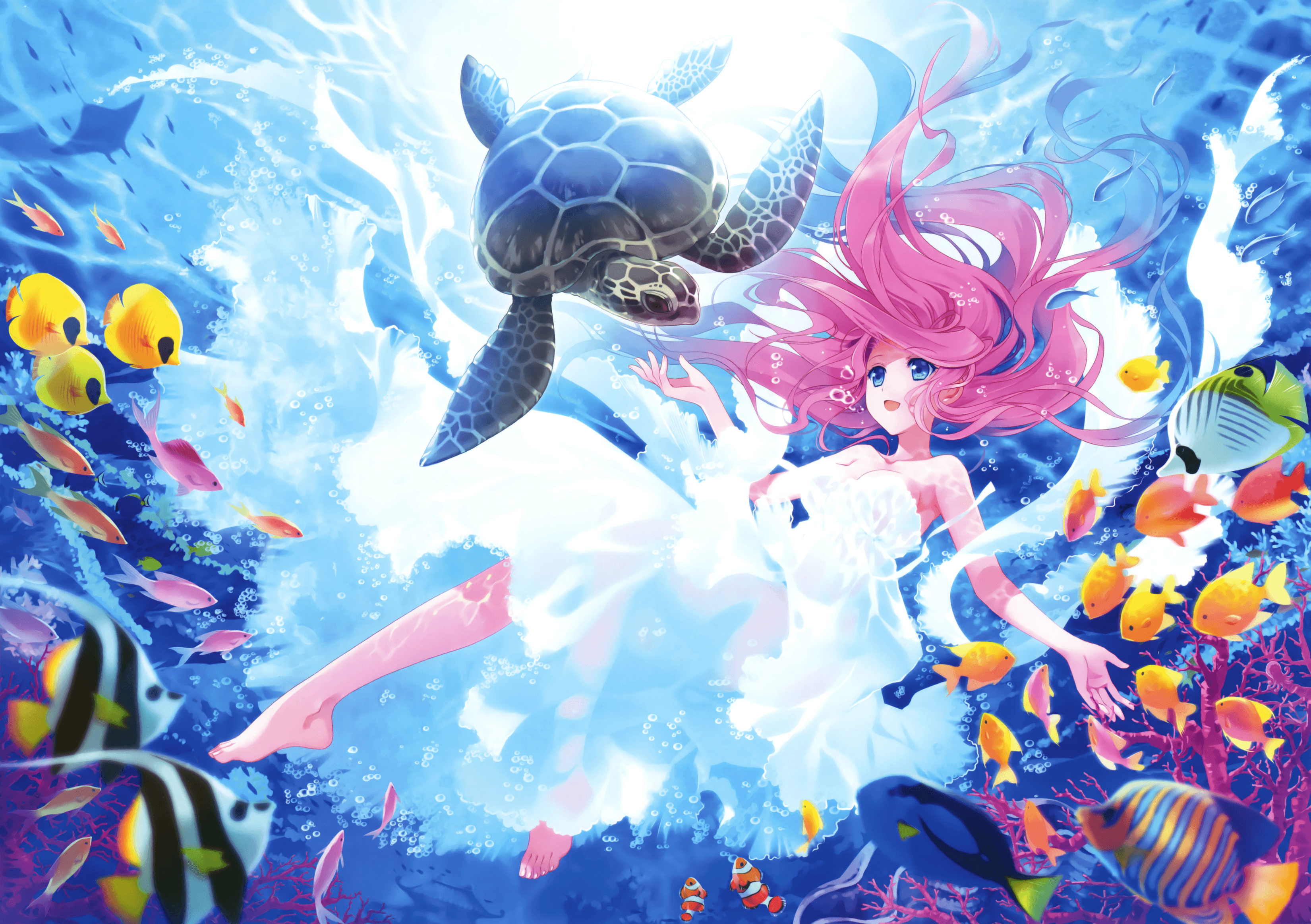 3300x2326 Wallpaper Kawaii, Mermaid, Turtle, Fishes, Underwater, HD, Anime, #3453