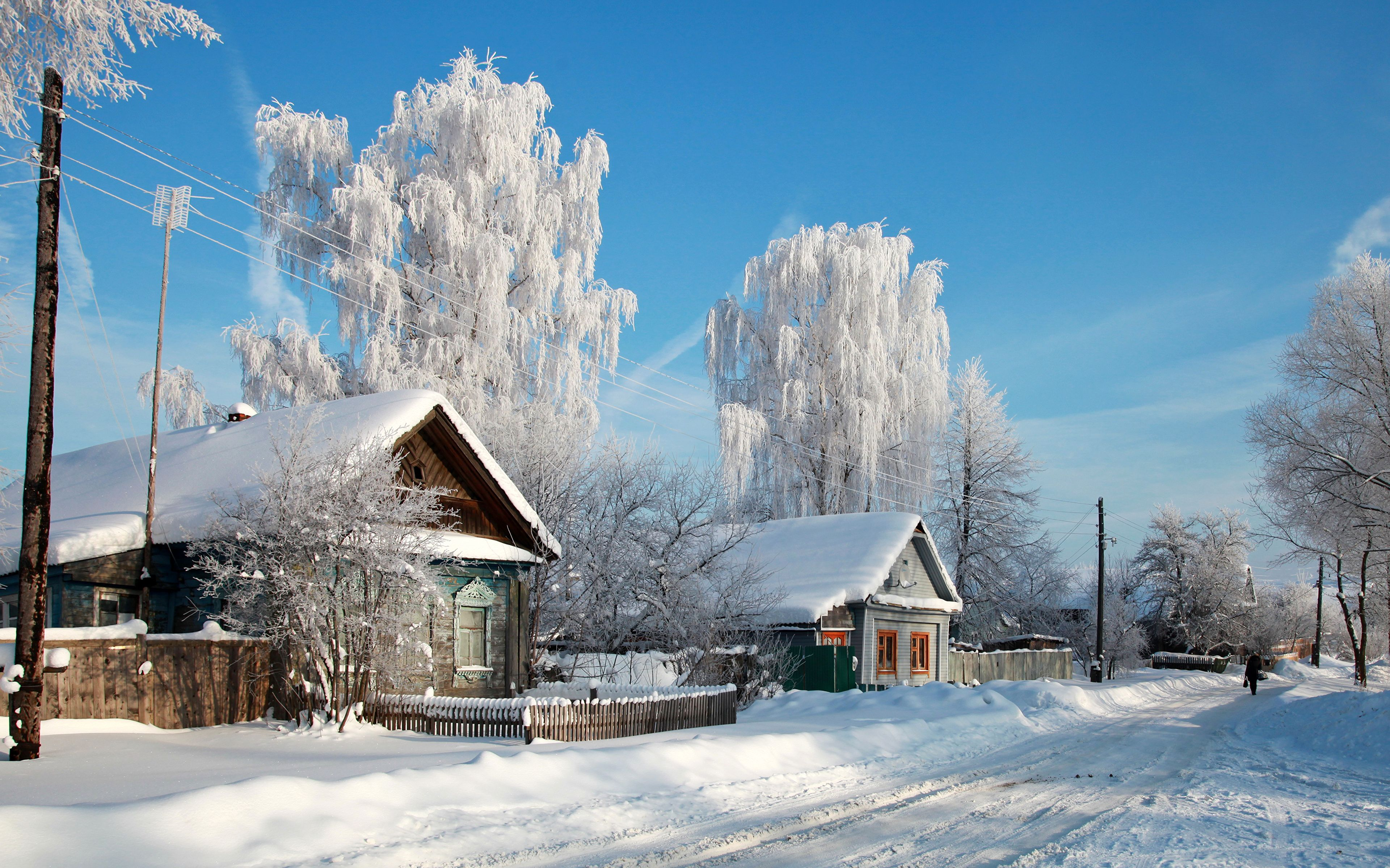 3840x2400 Images Russia Village Nature Winter Snow Trees Cities 3840x2400