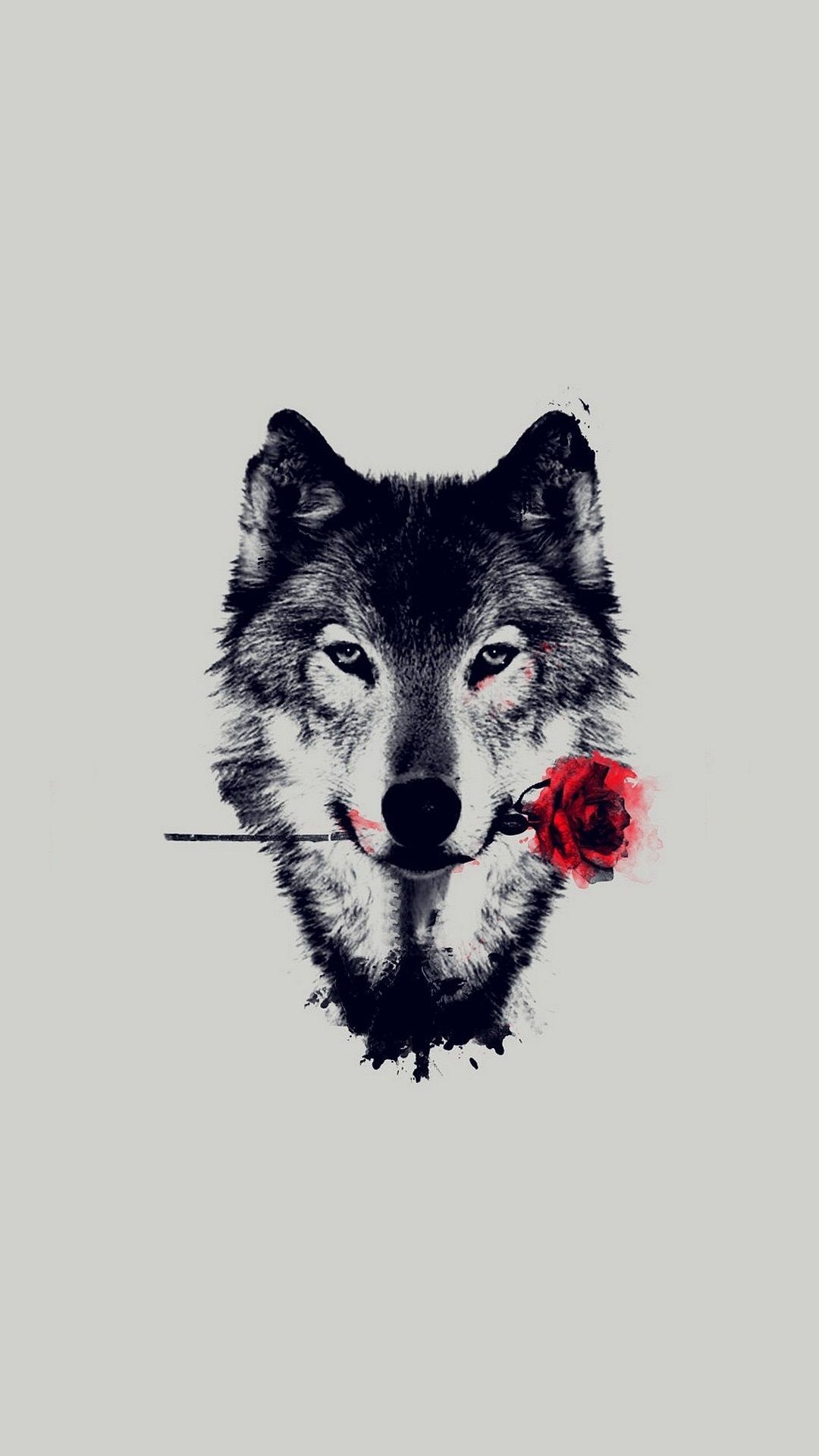 1080x1920 Wolf Red Rose Art Wallpaper iPhone - 2018 iPhone Wallpapers | Rose ...