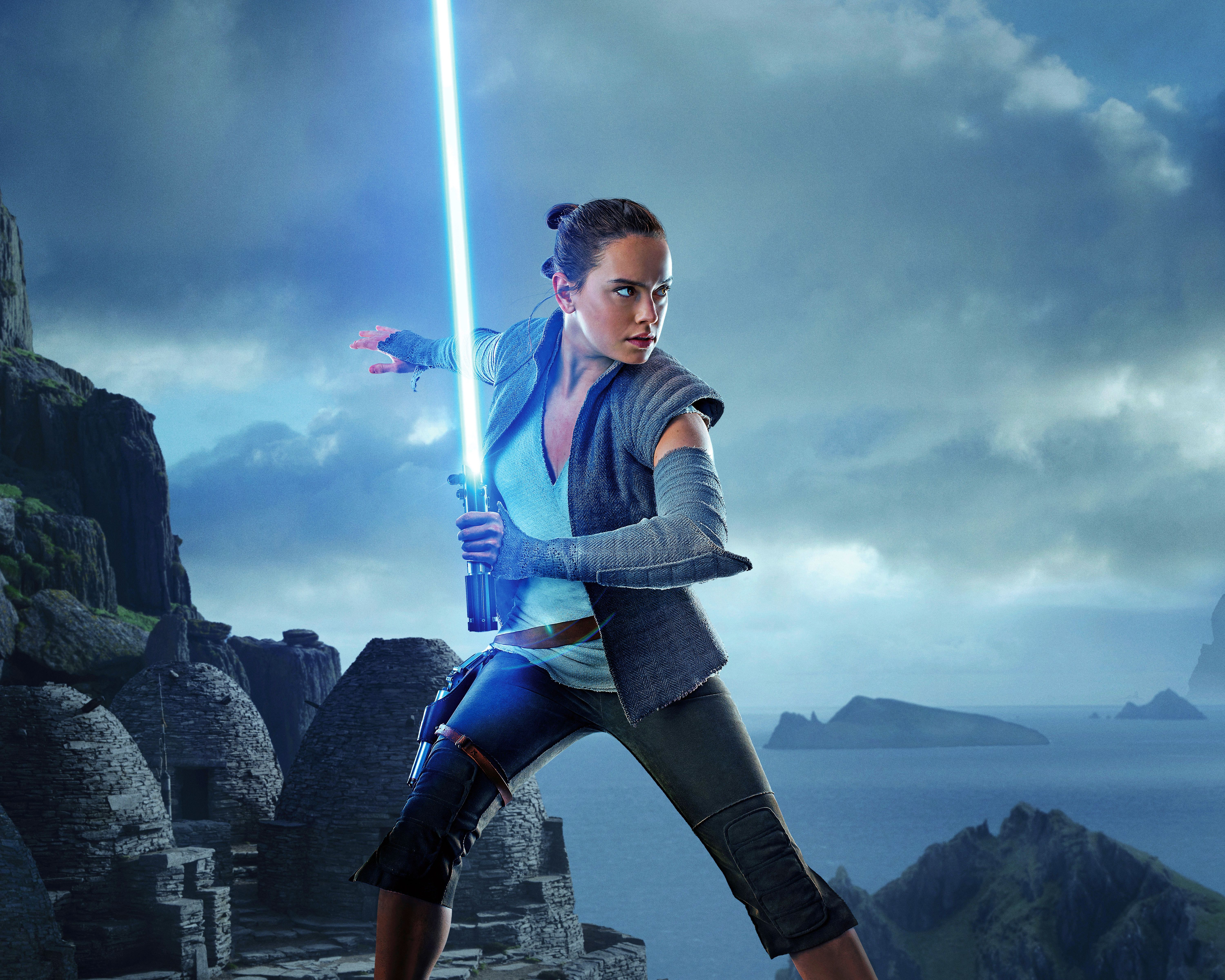 6000x4800 Picture Star Wars: The Last Jedi Daisy Ridley Swords Girls 6000x4800