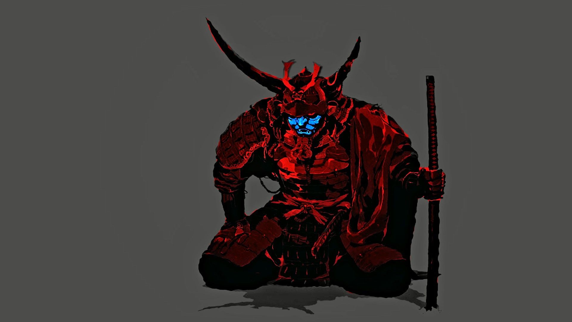 1920x1080 Wallpaper : illustration, minimalism, red, mask, blue, demon ...