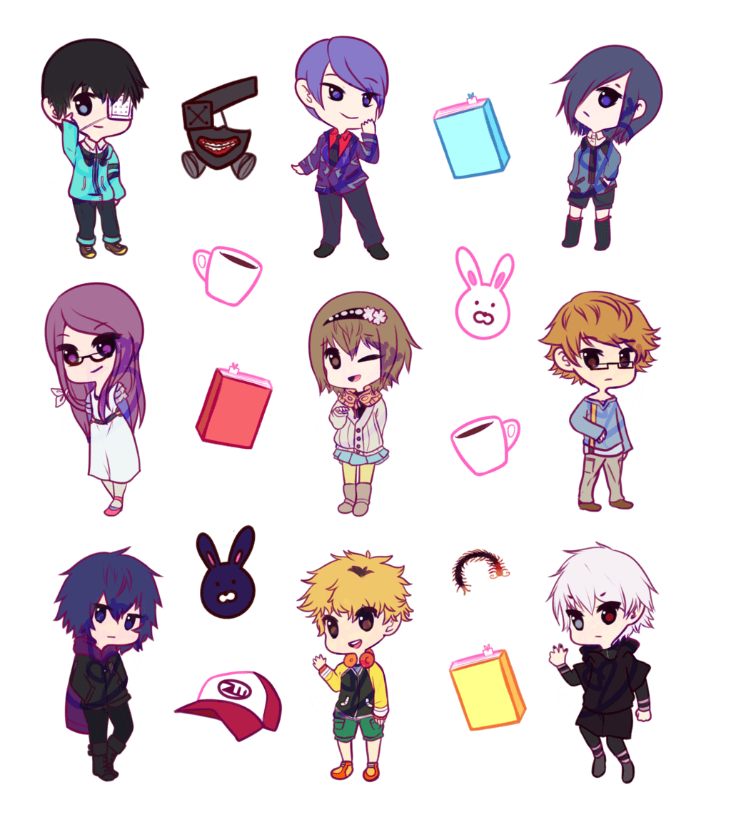 1024x1159 Tokyo Ghoul CHIBIS by loltias on DeviantArt
