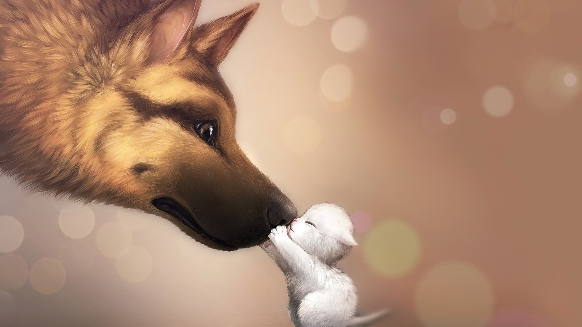 1920x1080 Download hd wallpapers of 840-anime, Bokeh, Artwork, Dog ...