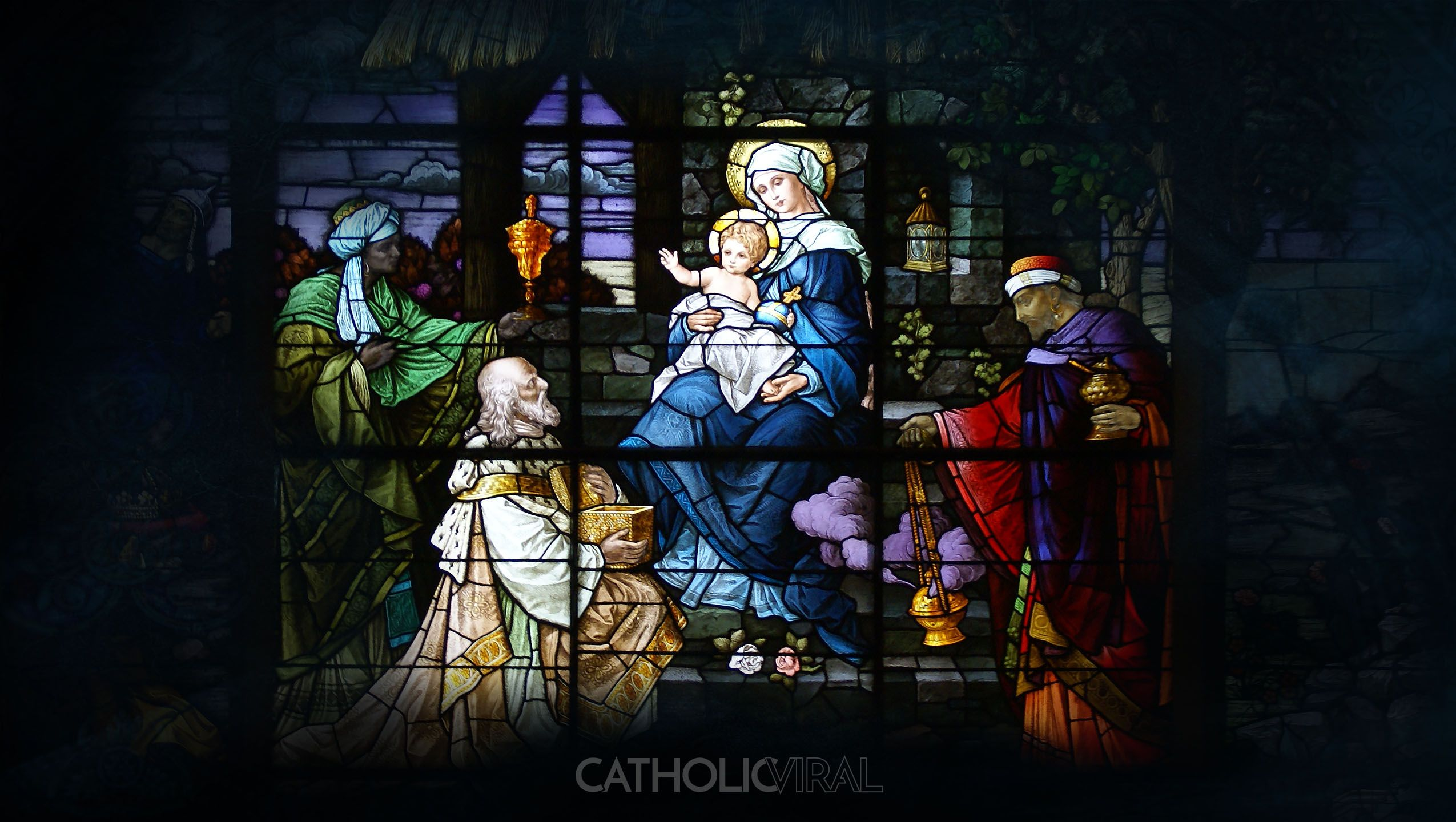 2550x1440 17 Stunning Stained-Glass Windows of the Nativity - HD Christmas ...