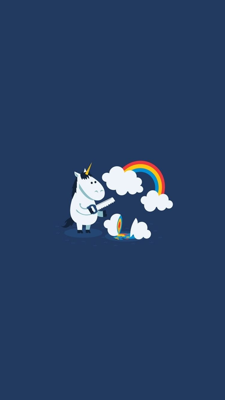 750x1334 Unicorn Saw Clouds Rainbow Funny iPhone 6 Wallpaper | phone ...