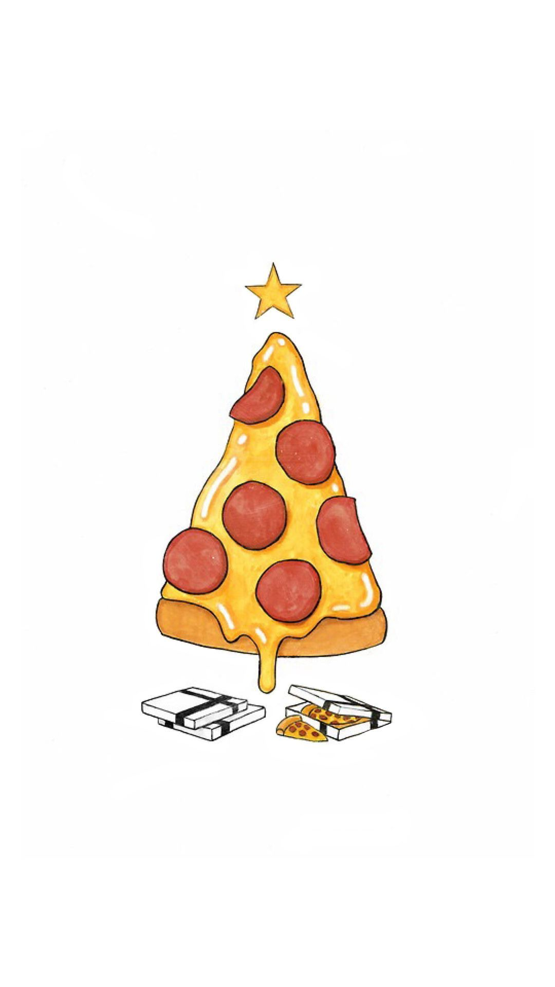 1080x1920 Pizza Christmas Tree Presents #iPhone #6 #wallpaper   iPhone 6 ...