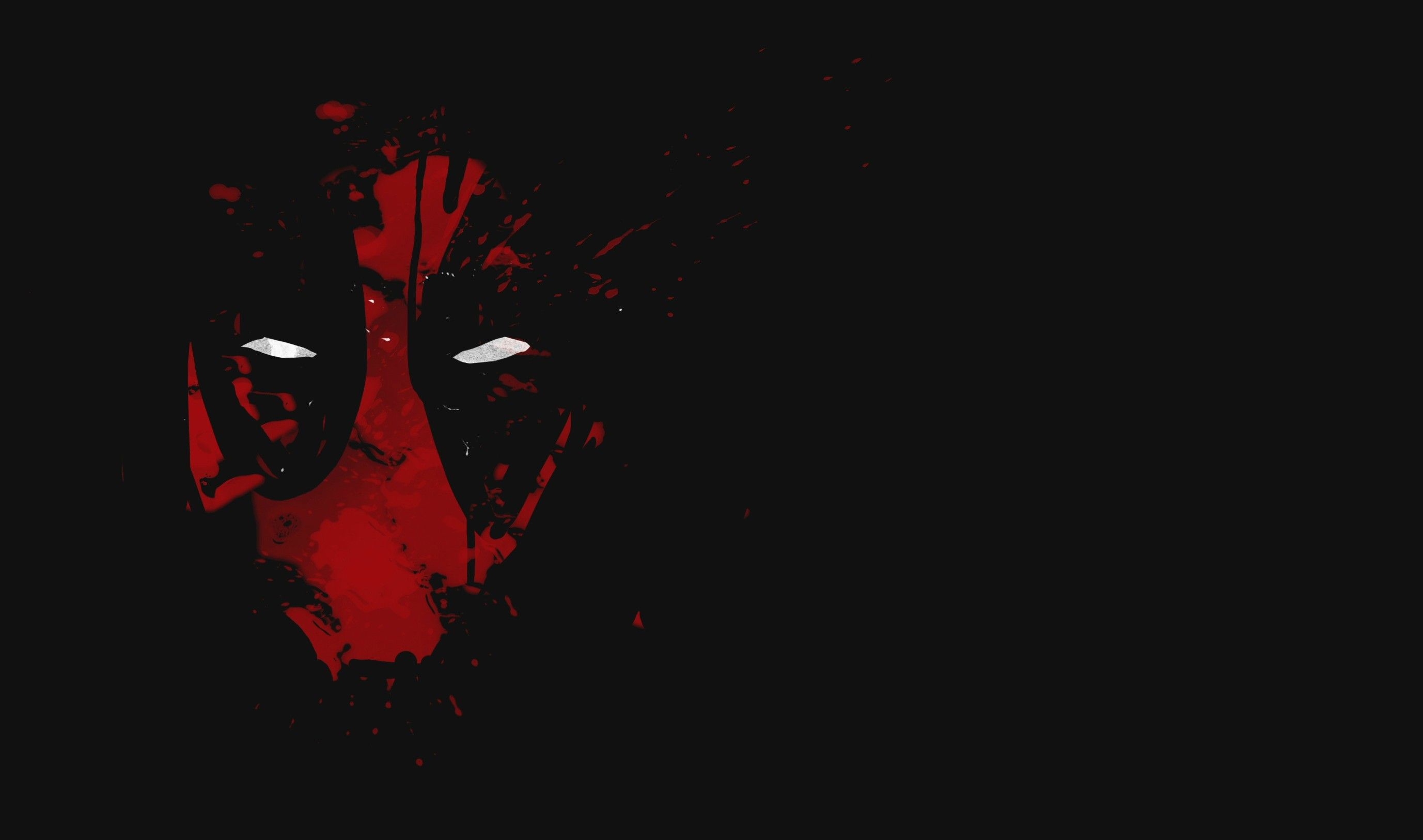 2755x1627 Cool Deadpool Wallpaper with Red Abstract Mask with White Eyes in ...