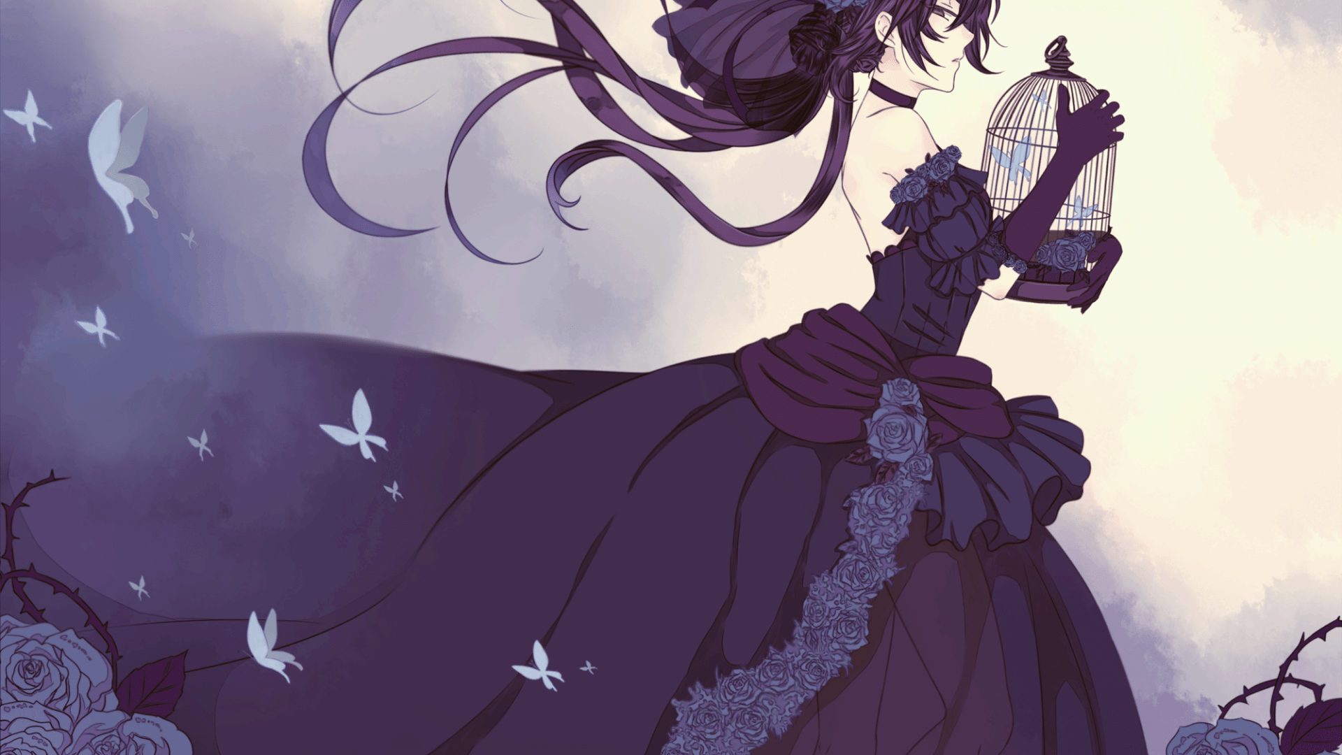 1920x1080 Pandora Hearts Alice Cage Butterflies Gothic Dress Profile View ...