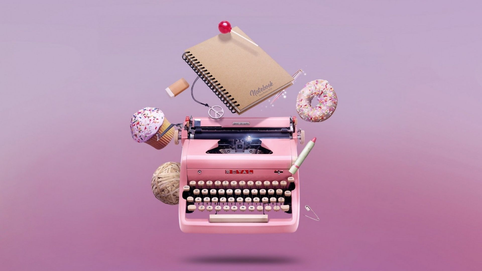 1920x1080 1920x1080 Pink Type Writer & Sweets desktop PC and Mac wallpaper