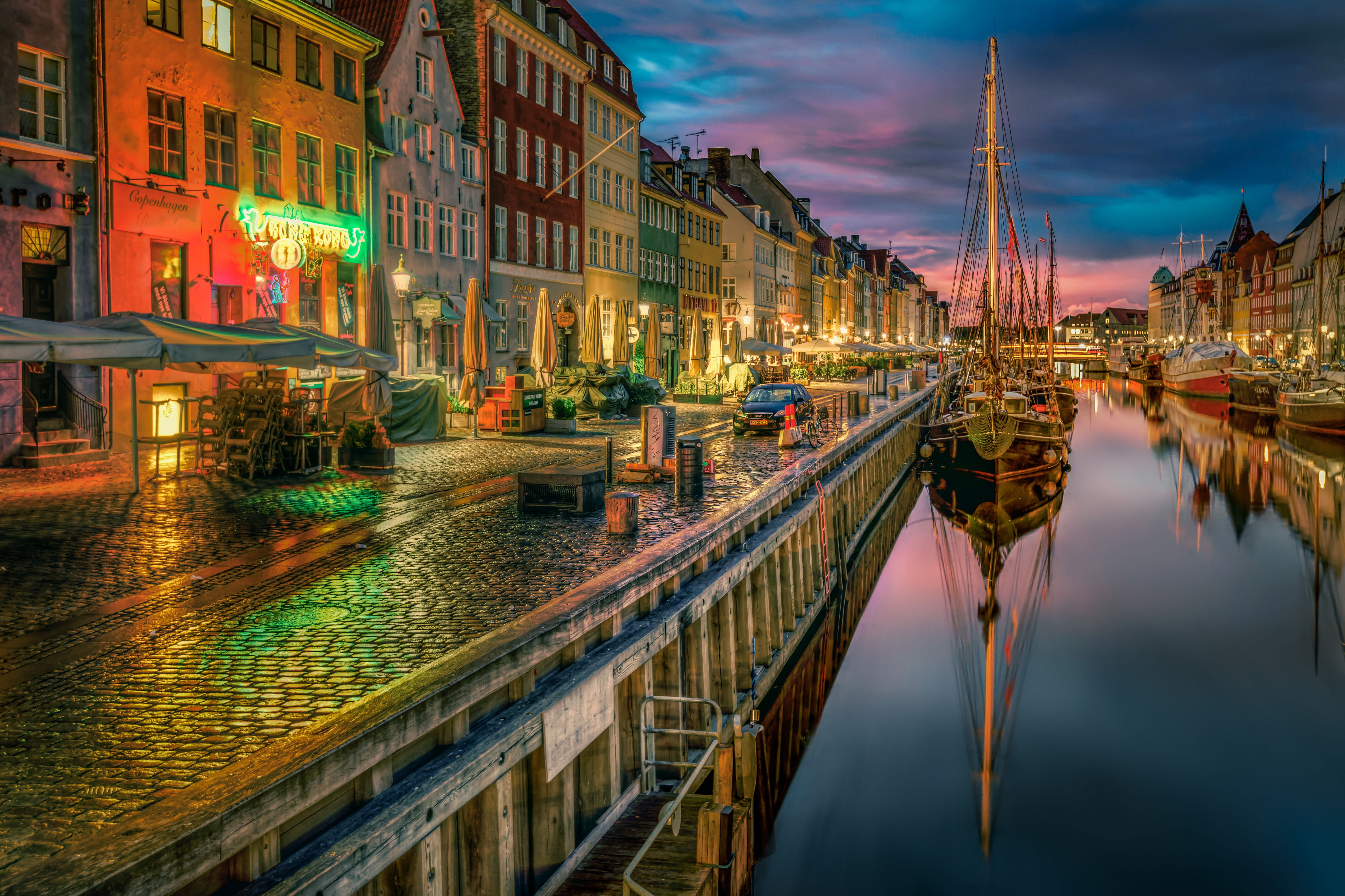 6000x4000 Copenhagen, Denmark at Night 5k Retina Ultra HD Wallpaper ...