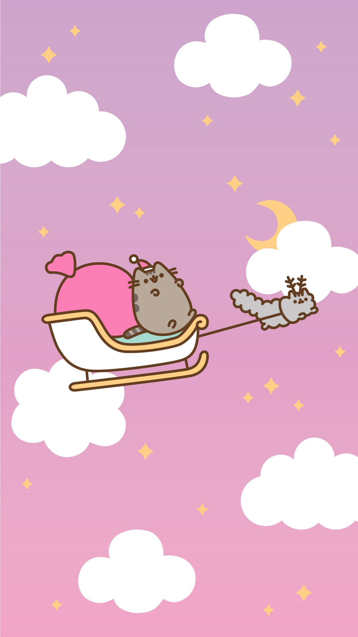1242x2208 Free Christmas Pusheen Android and iPhone® Wallpapers - #ClairesBlog
